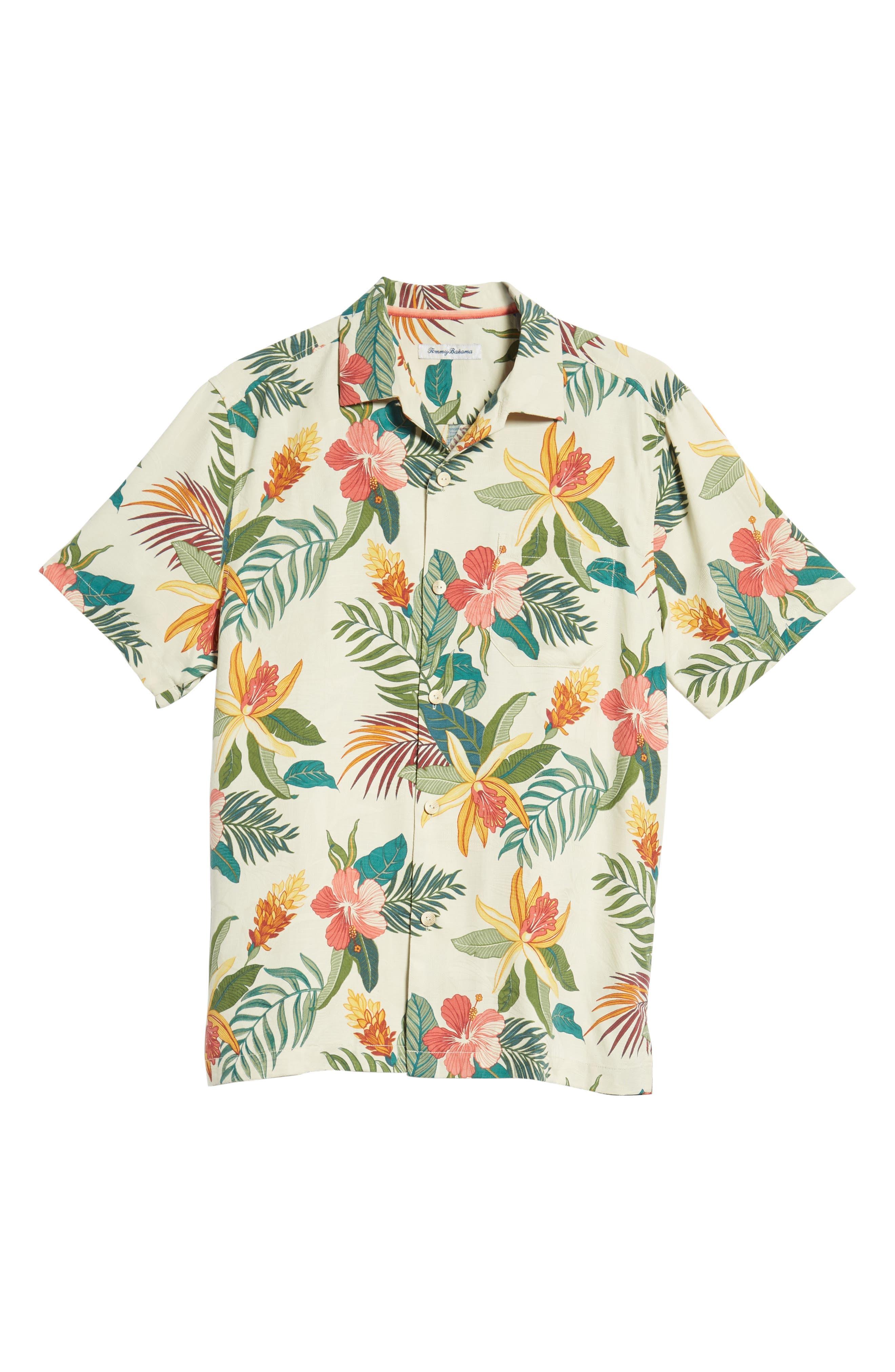 Beach Crest Blooms Short Sleeve Silk Blend Sport Shirt,                             Alternate thumbnail 6, color,                             CONTINENTAL