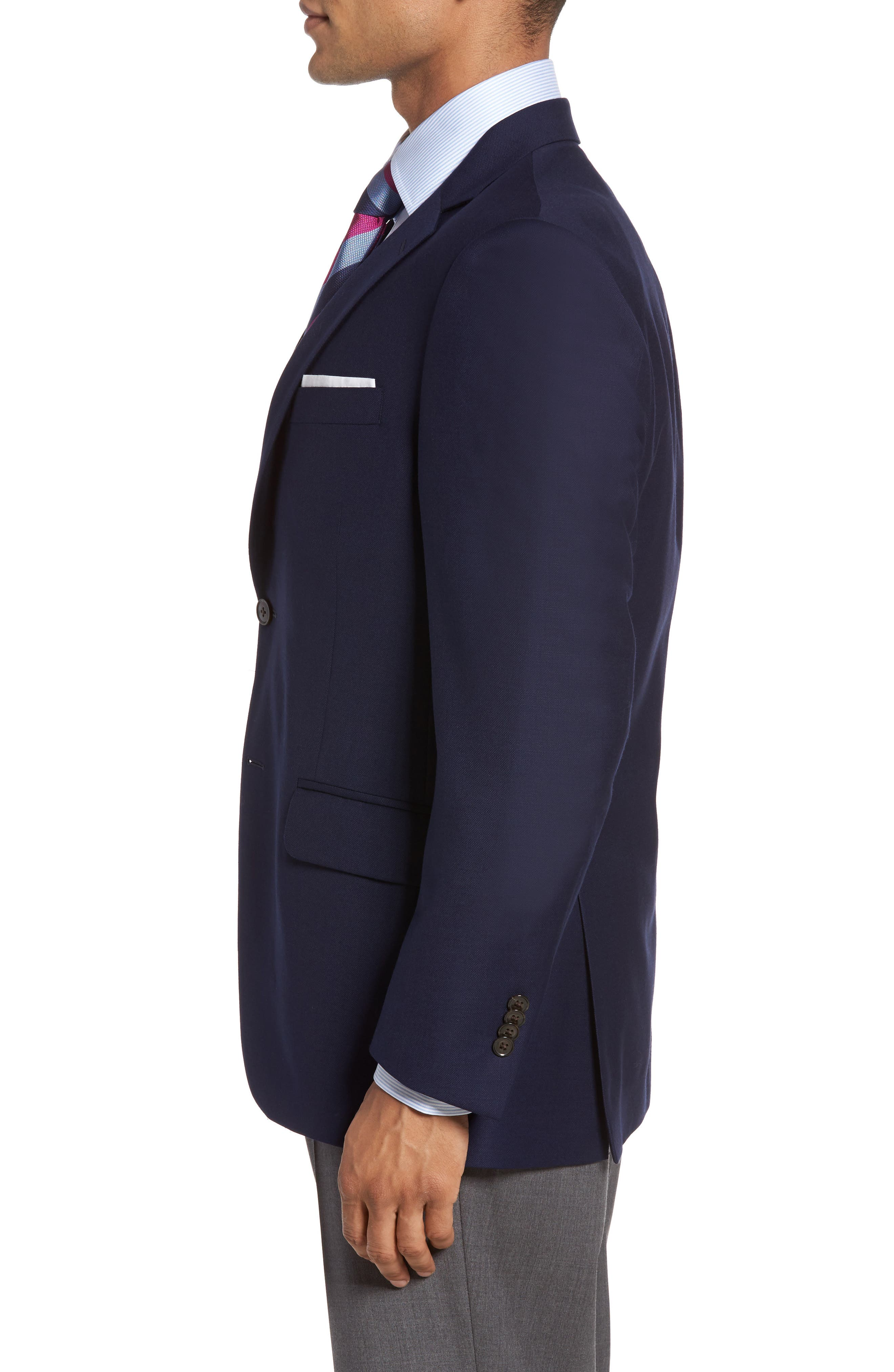 Flynn Classic Fit Wool Blazer,                             Alternate thumbnail 3, color,                             NAVY