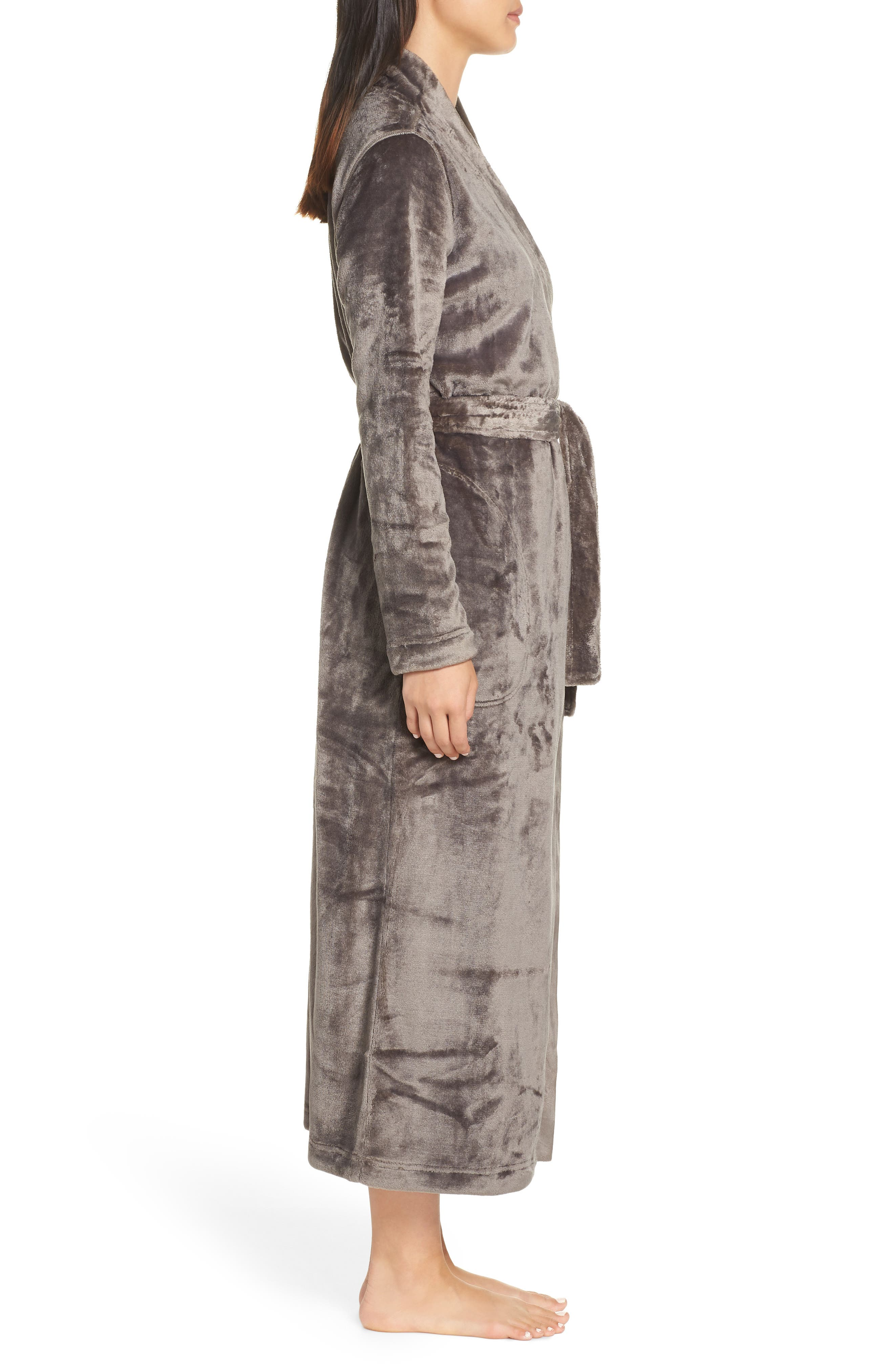 Marlow Double-Face Fleece Robe,                             Alternate thumbnail 3, color,                             CHARCOAL
