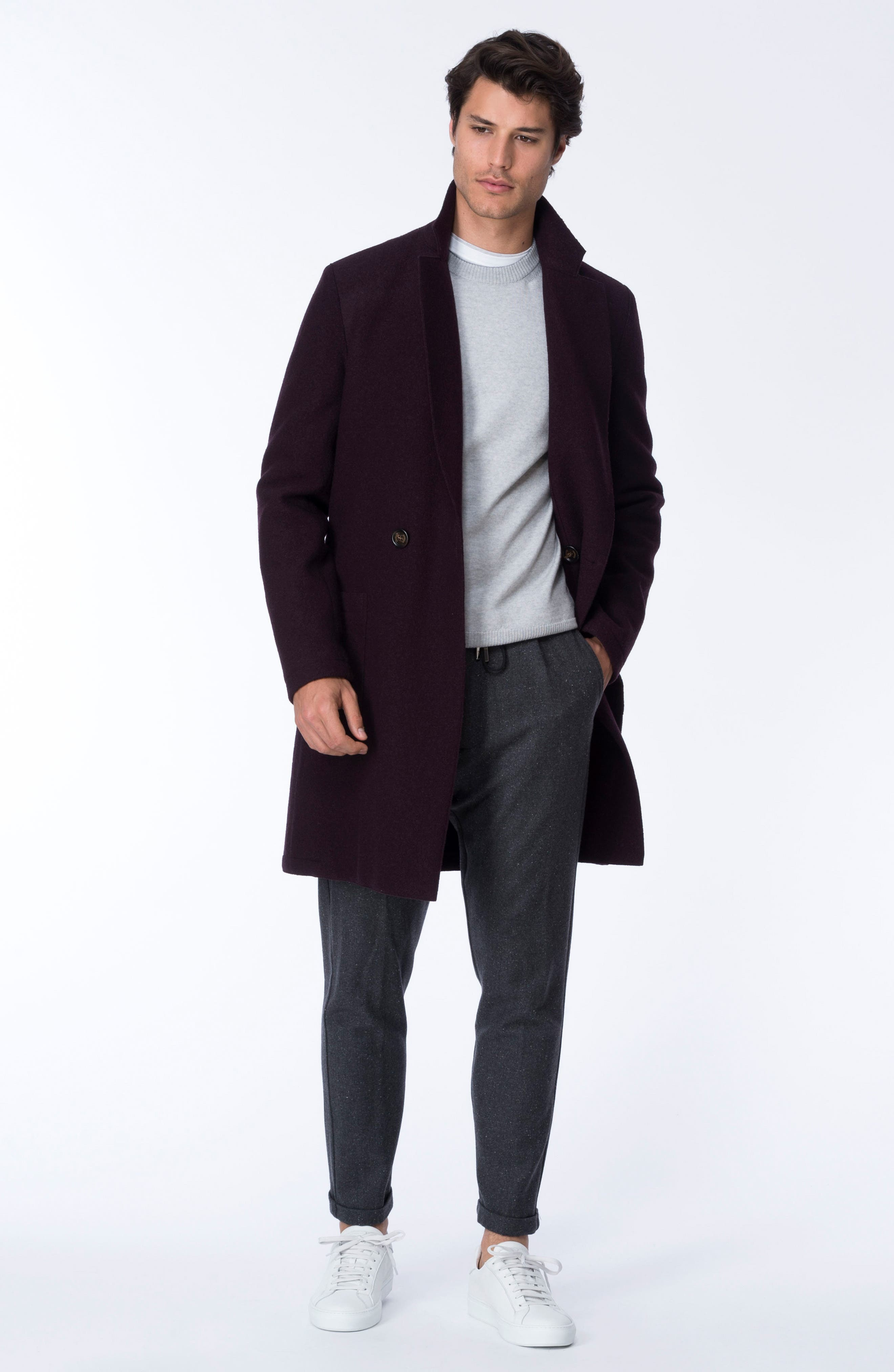 Boiled Wool Double Breasted Topcoat,                             Alternate thumbnail 7, color,                             930