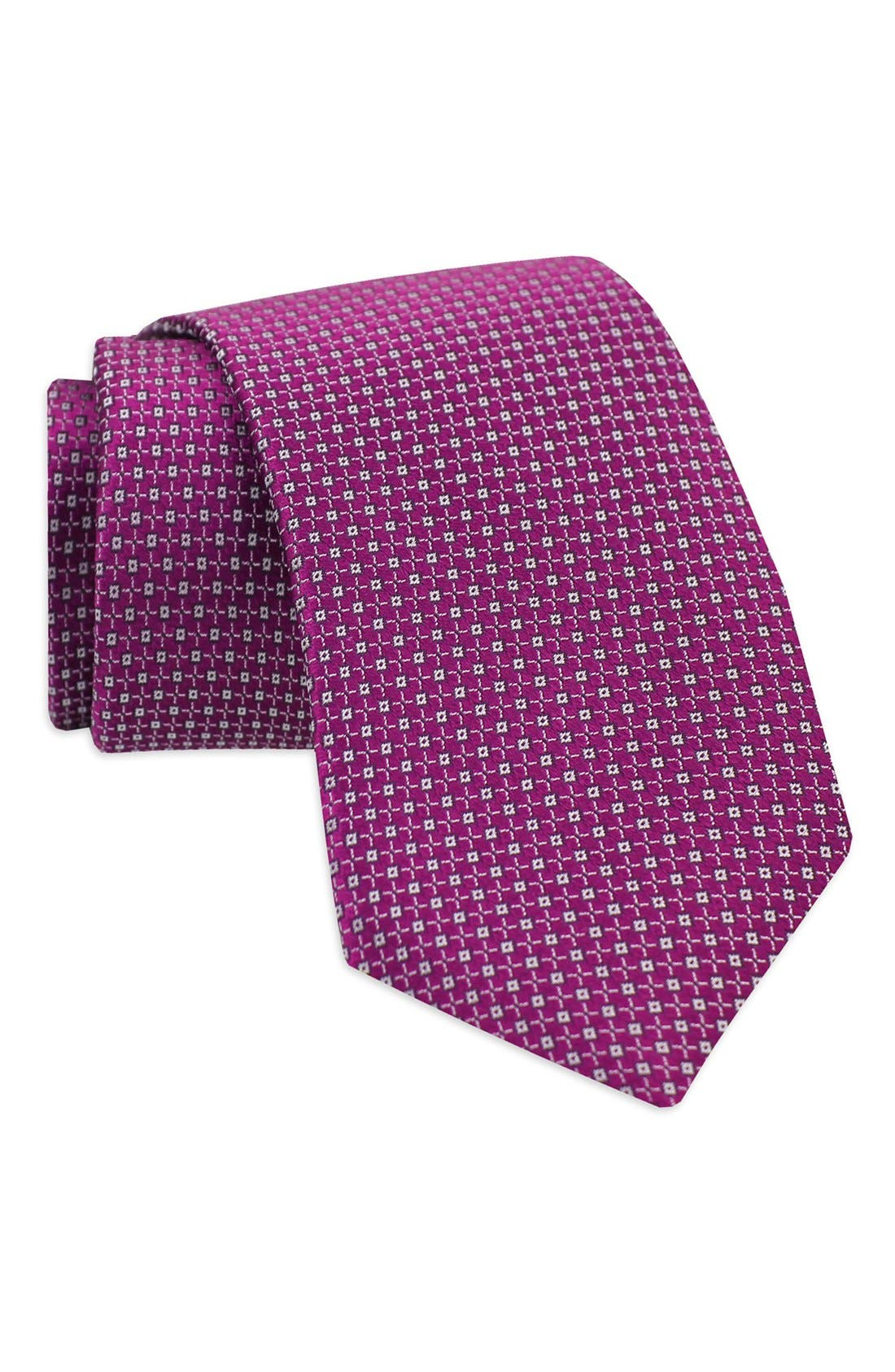 Geometric Woven Silk Tie,                             Alternate thumbnail 8, color,