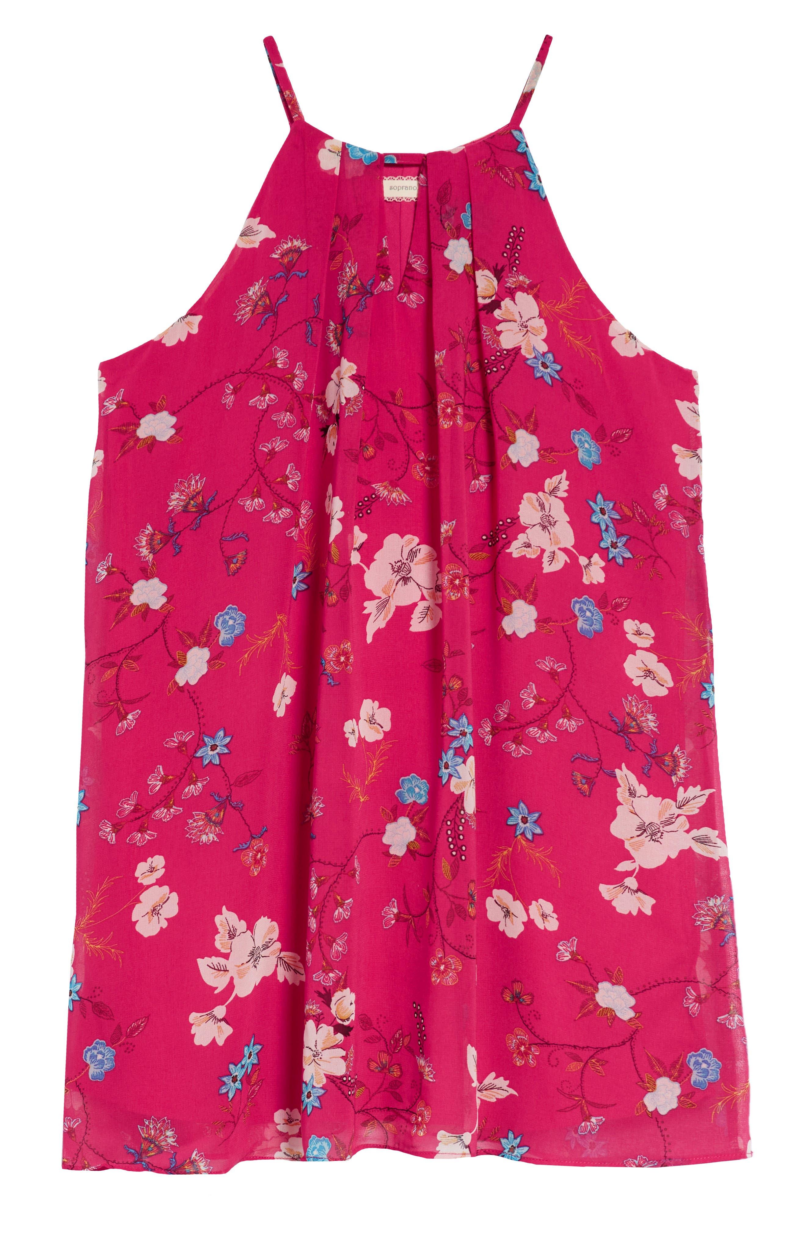 Print Halter Chiffon Dress,                             Main thumbnail 2, color,