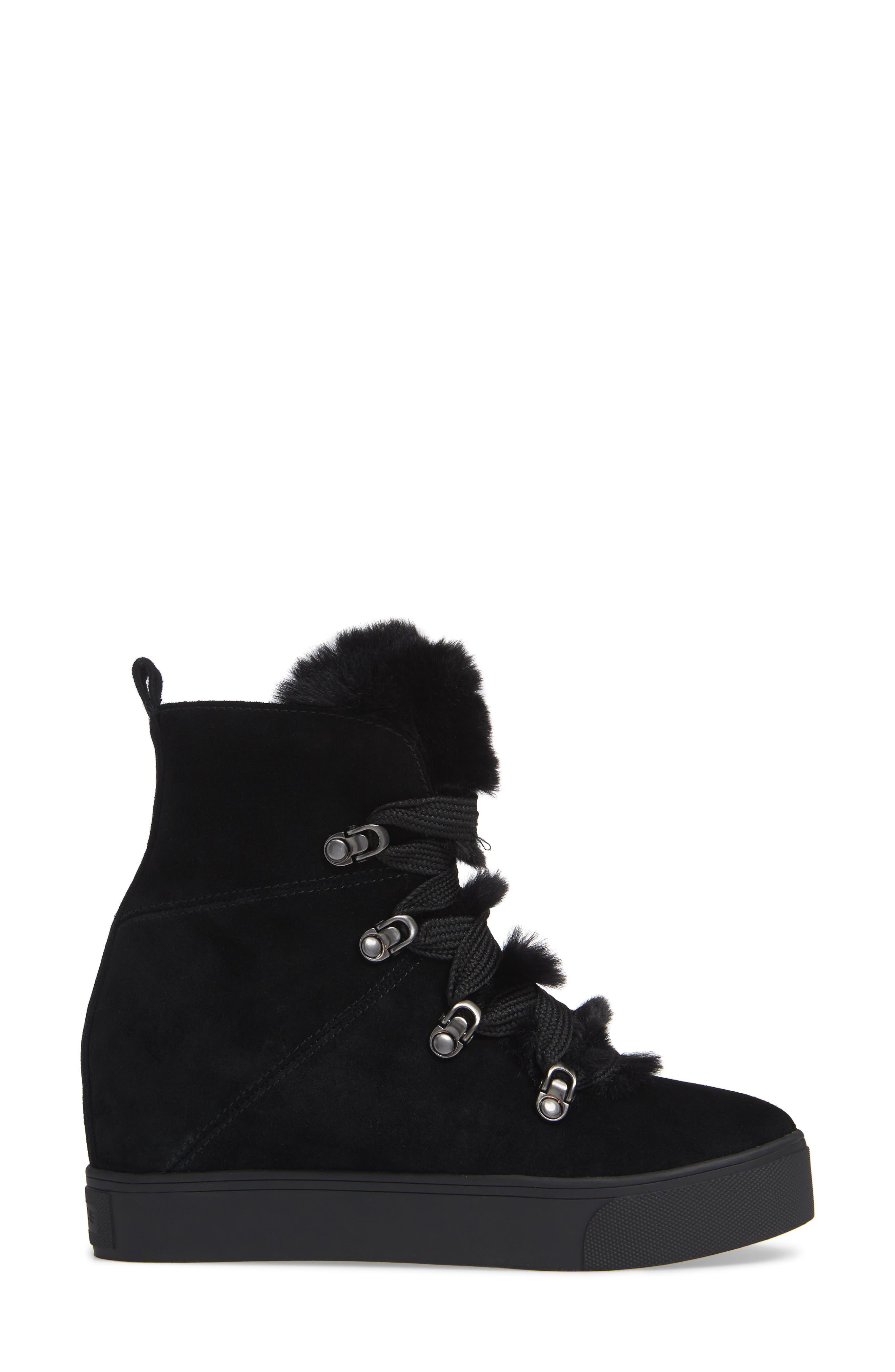 Whitney Faux Fur Trim High Top Sneaker,                             Alternate thumbnail 3, color,                             BLACK SUEDE