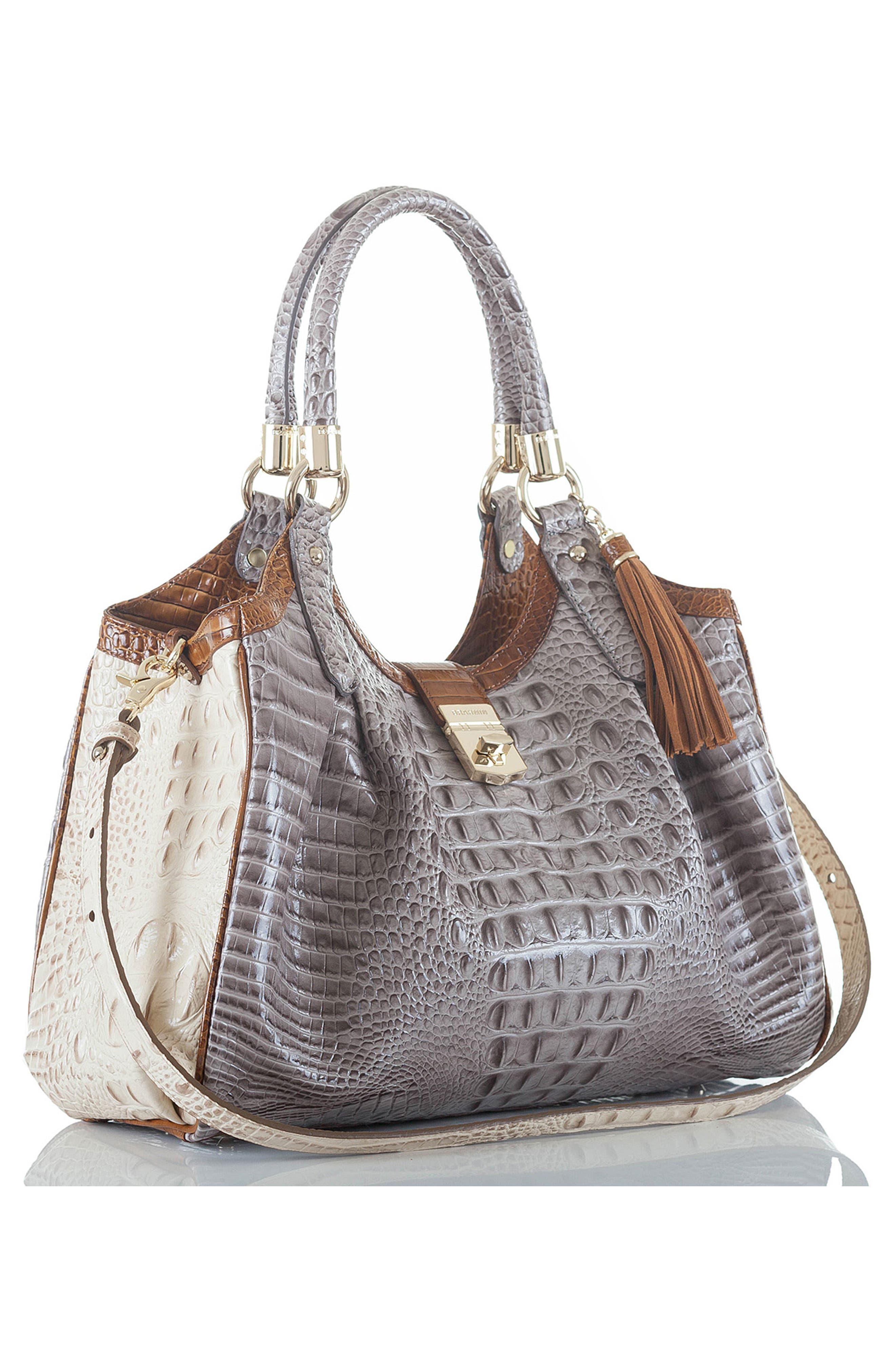 Elisa Croc Embossed Leather Shoulder Bag,                             Alternate thumbnail 4, color,                             032