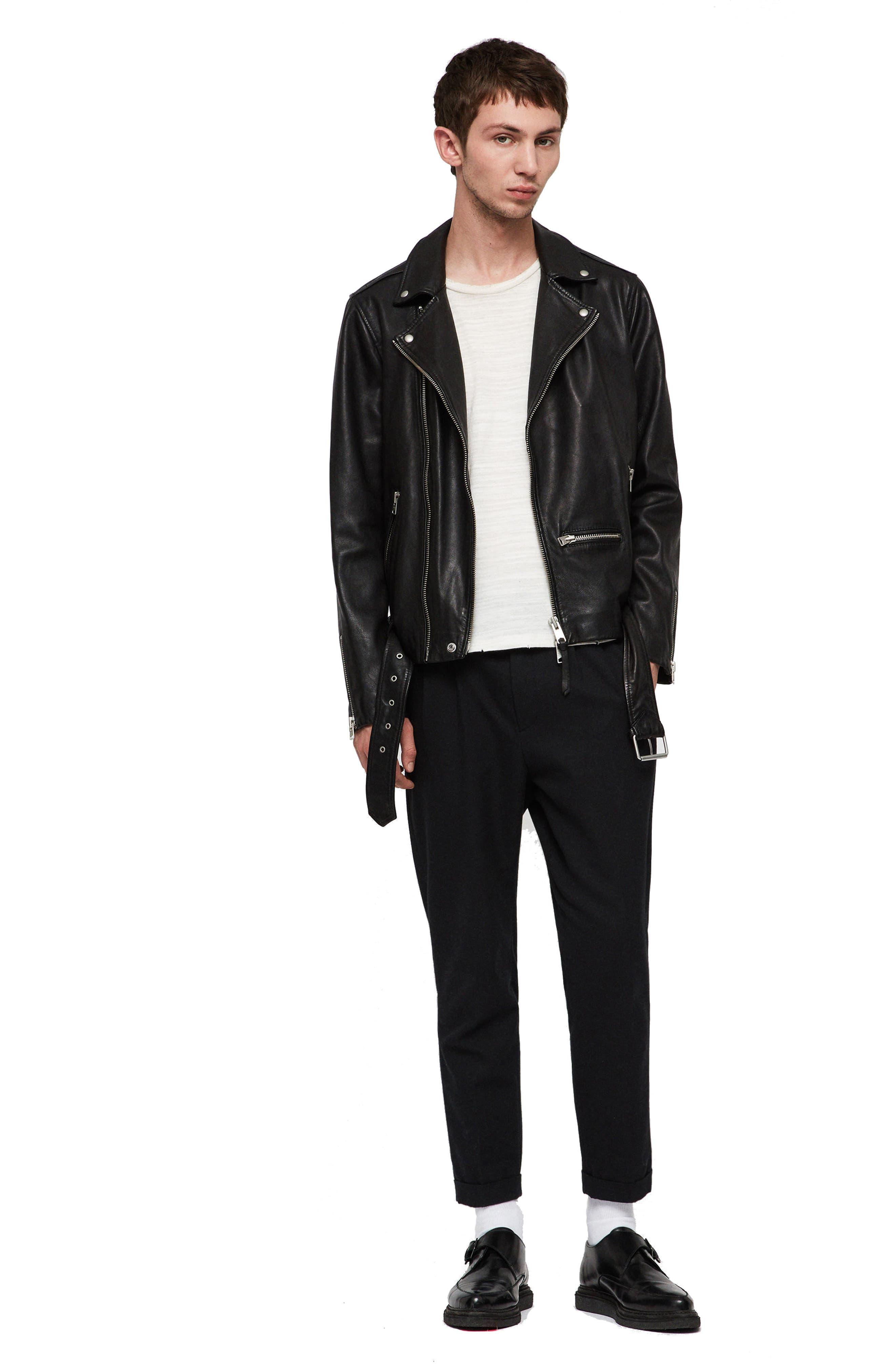 Wick Slim Fit Leather Biker Jacket,                             Alternate thumbnail 5, color,                             BLACK