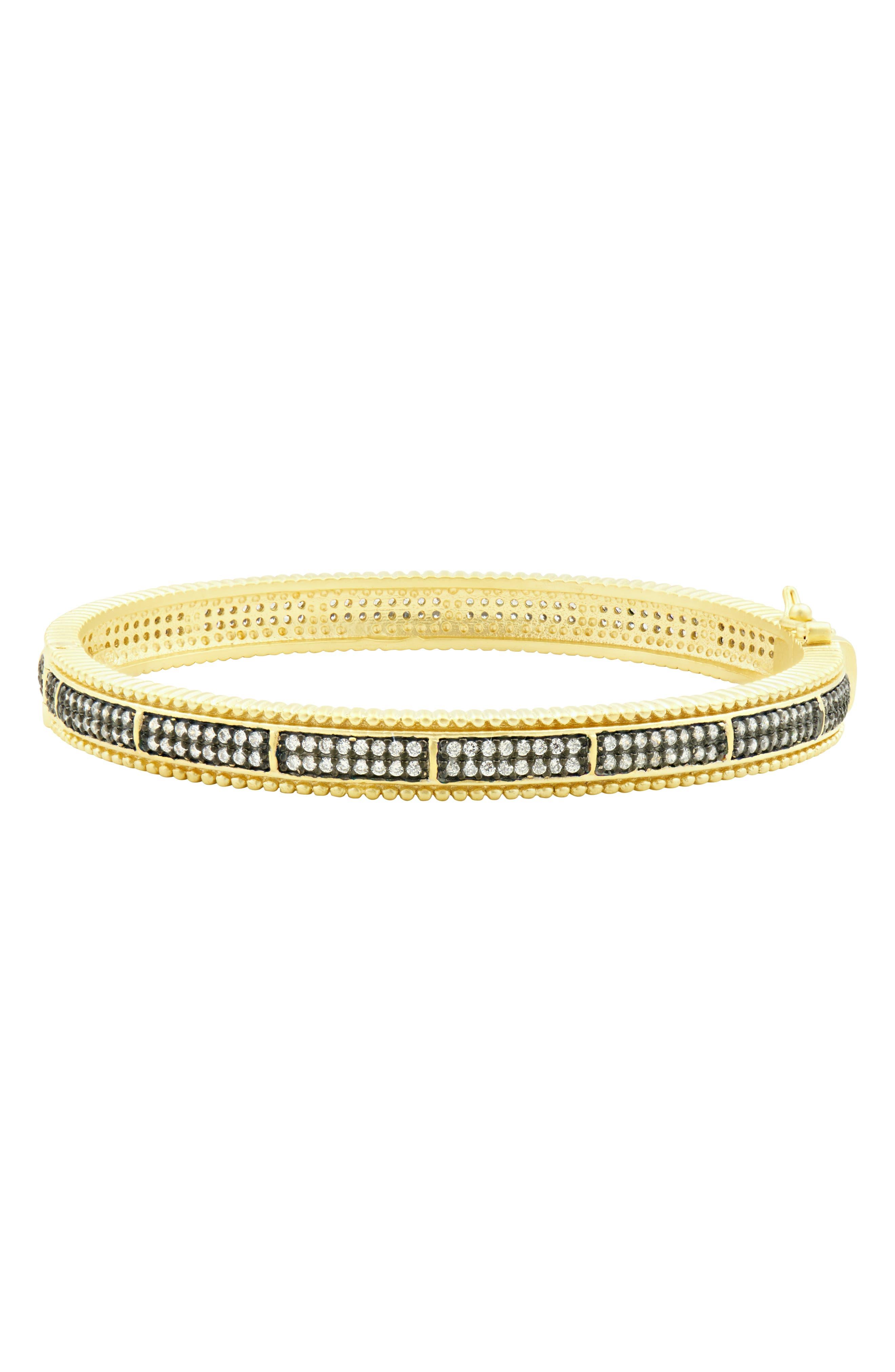Pavé Hinge Bangle Bracelet,                             Main thumbnail 1, color,                             BLACK/ WHITE/ GOLD