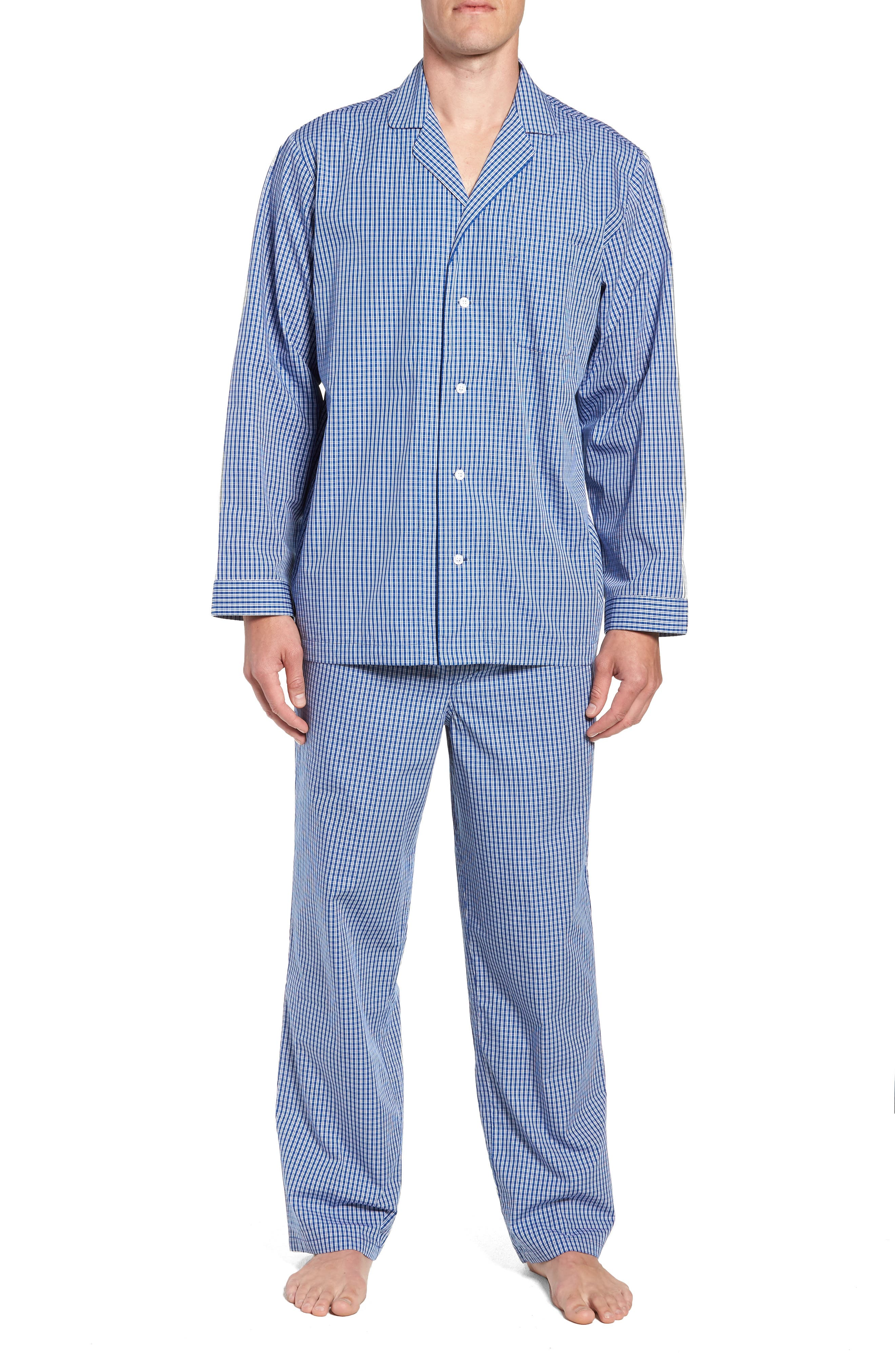 Poplin Pajama Set,                             Main thumbnail 1, color,                             BLUE DEEP MICRO CHECK