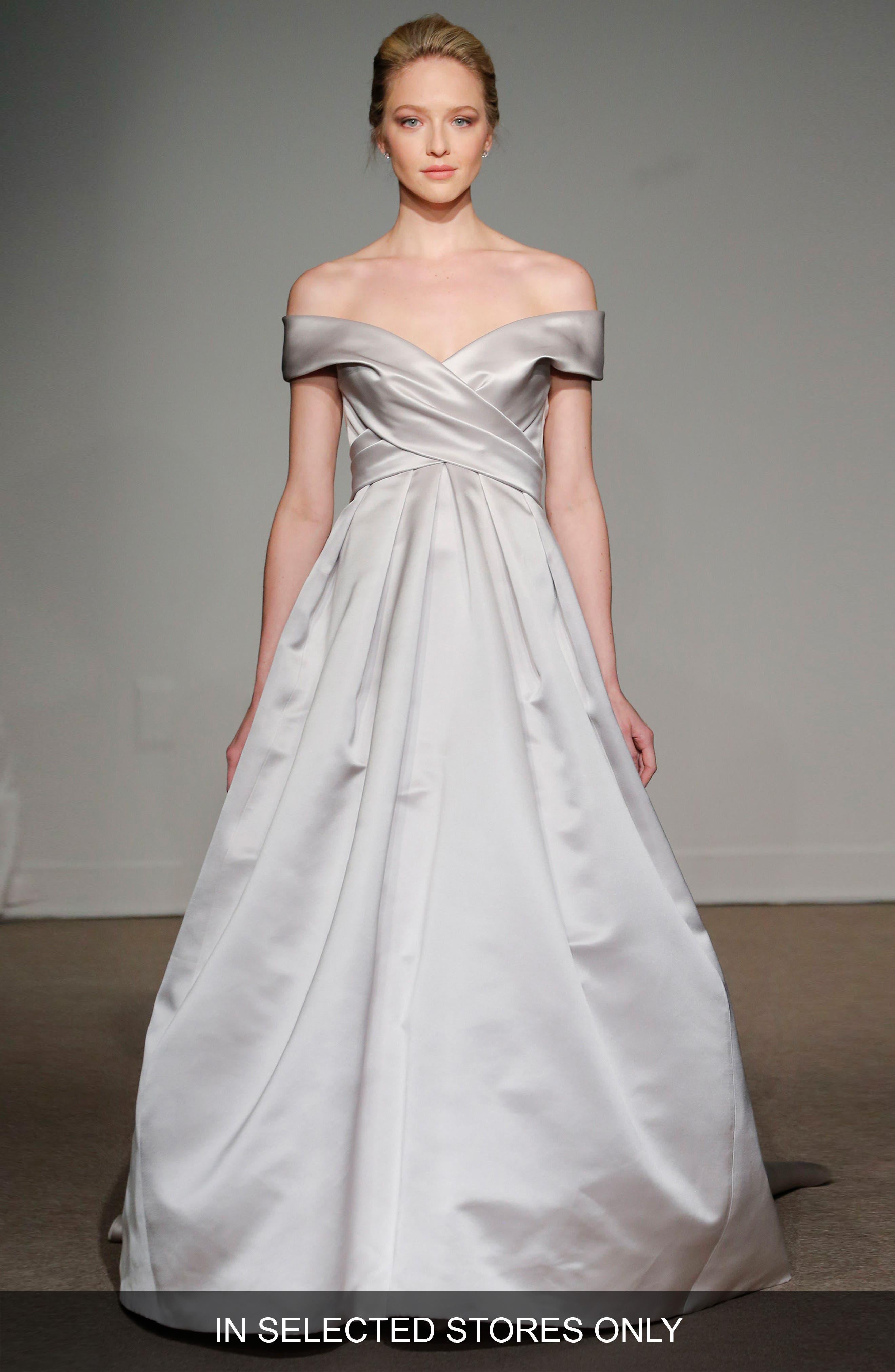 Elizabeth Off the Shoulder Silk Gown,                             Main thumbnail 1, color,                             SOFT WHITE
