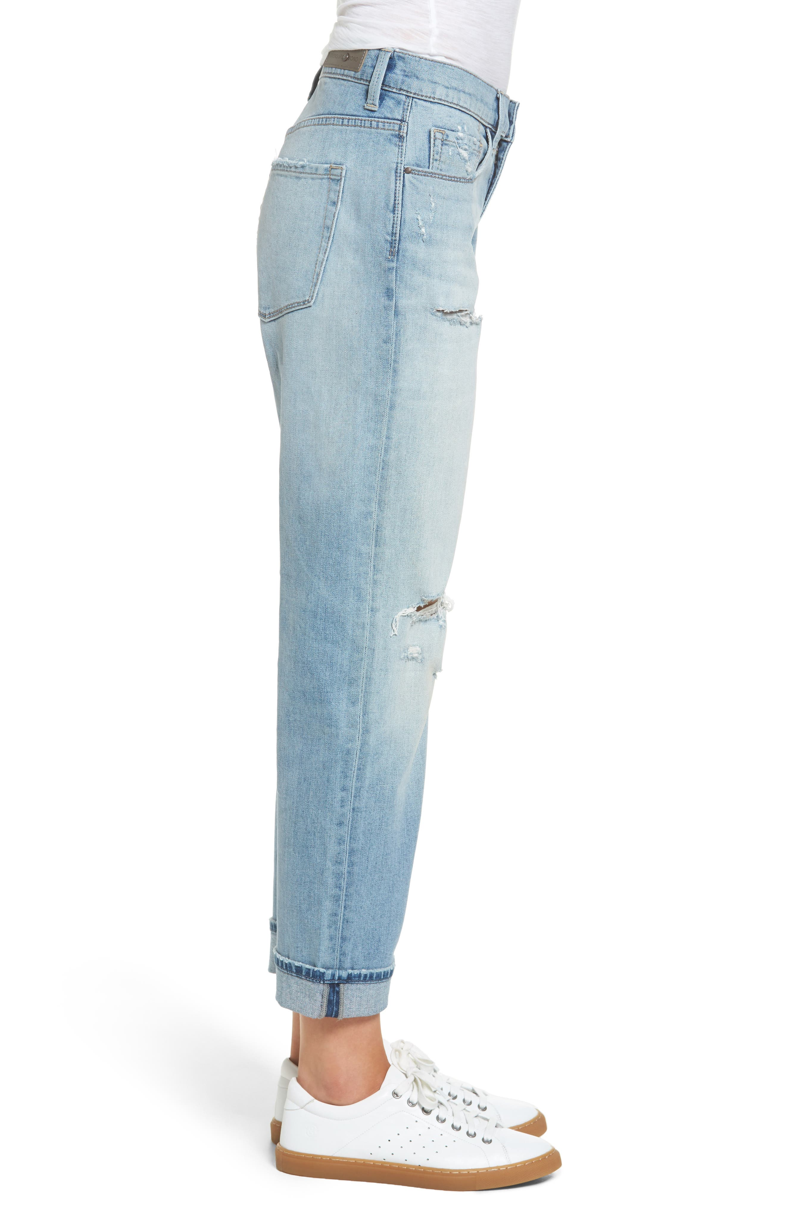 Ripped Relaxed Fit Jeans,                             Alternate thumbnail 3, color,                             400