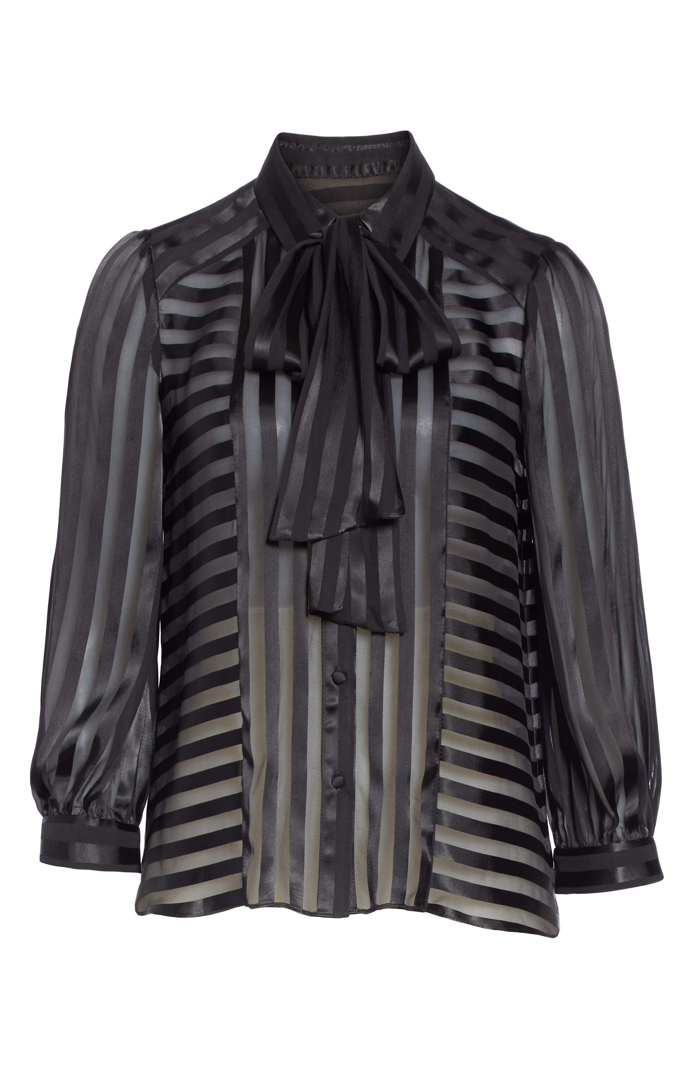 Tie Neck Shadow Stripe Blouse,                             Alternate thumbnail 6, color,                             SHADOW STRIPE BLACK