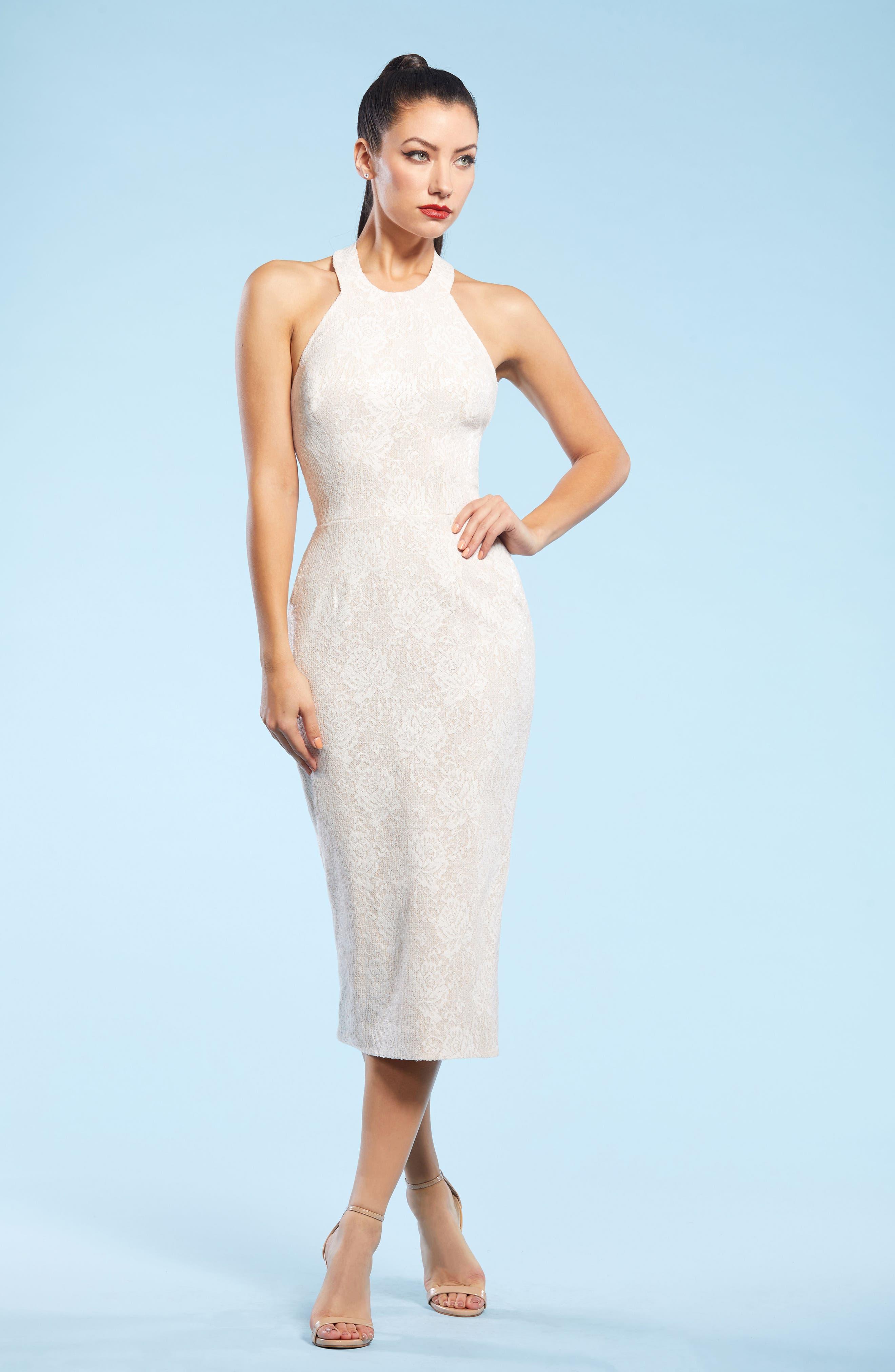 Cassie Halter Sequin Dress,                             Alternate thumbnail 5, color,                             154
