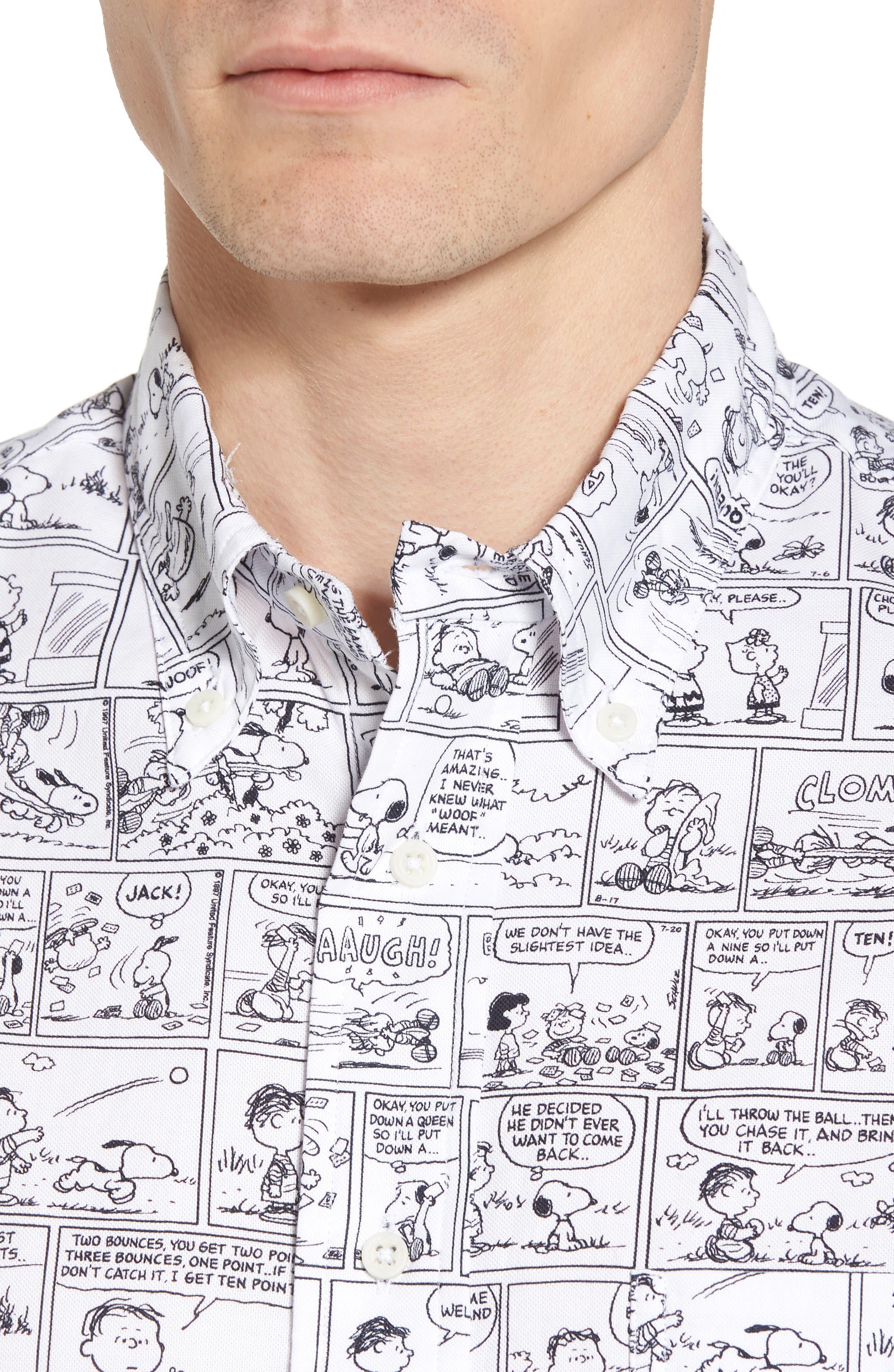Peanuts Print Short Sleeve Sport Shirt,                             Alternate thumbnail 5, color,                             001