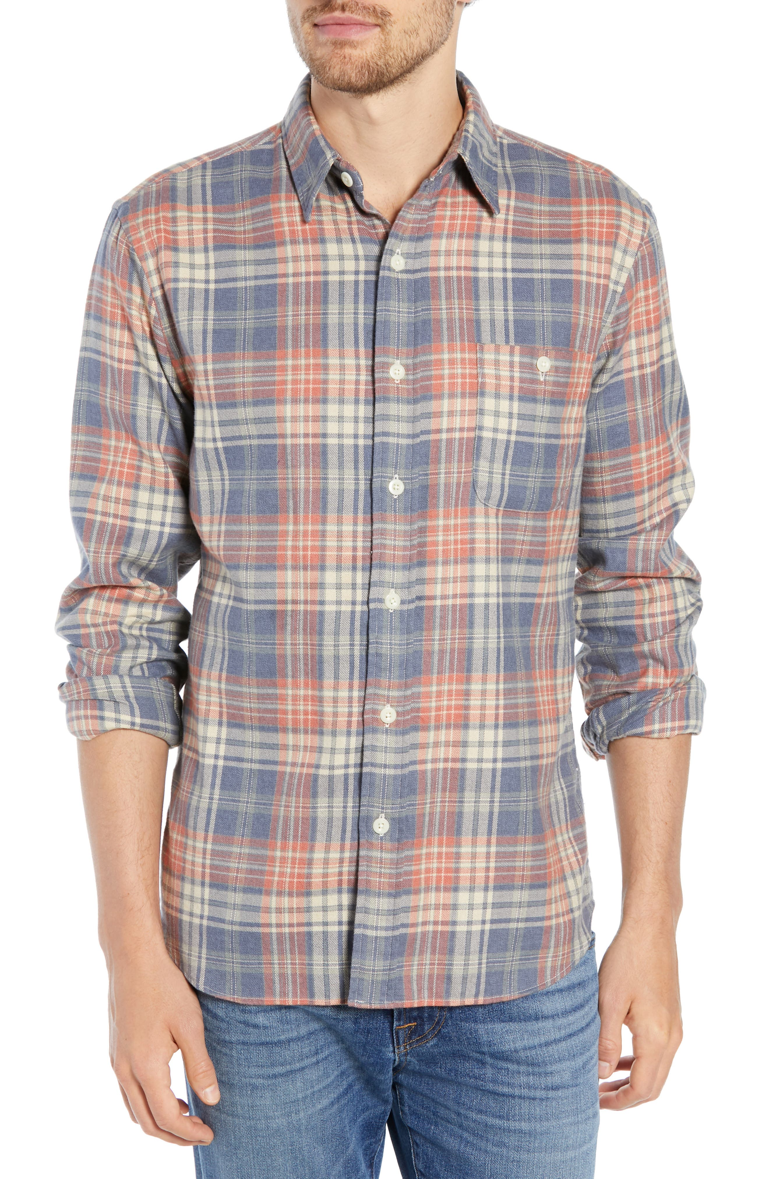 Faherty Seaview Regular Fit Stretch Flannel Shirt