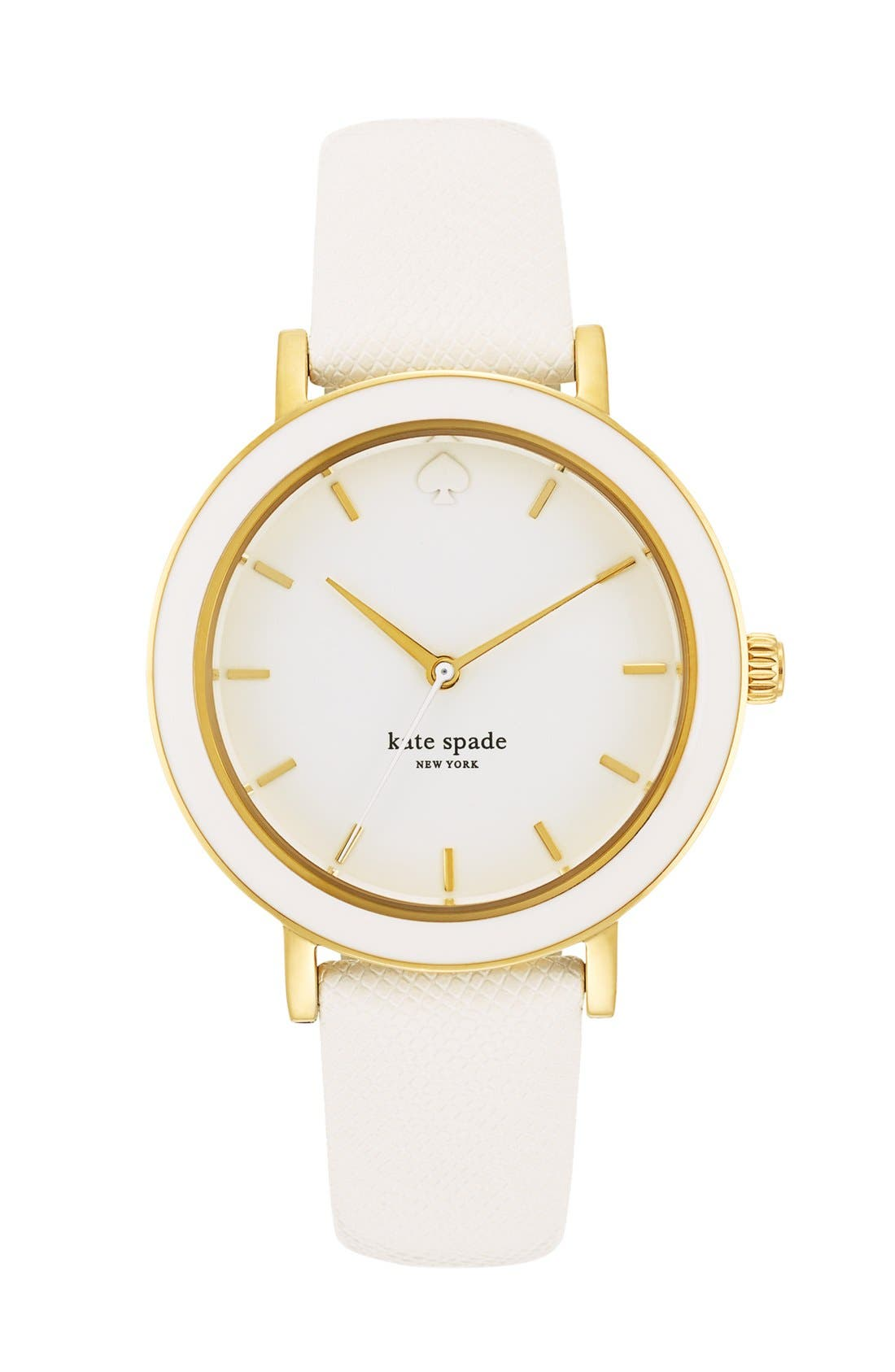 KATE SPADE NEW YORK,                             'metro' enamel bezel leather strap watch, 38mm,                             Main thumbnail 1, color,                             100