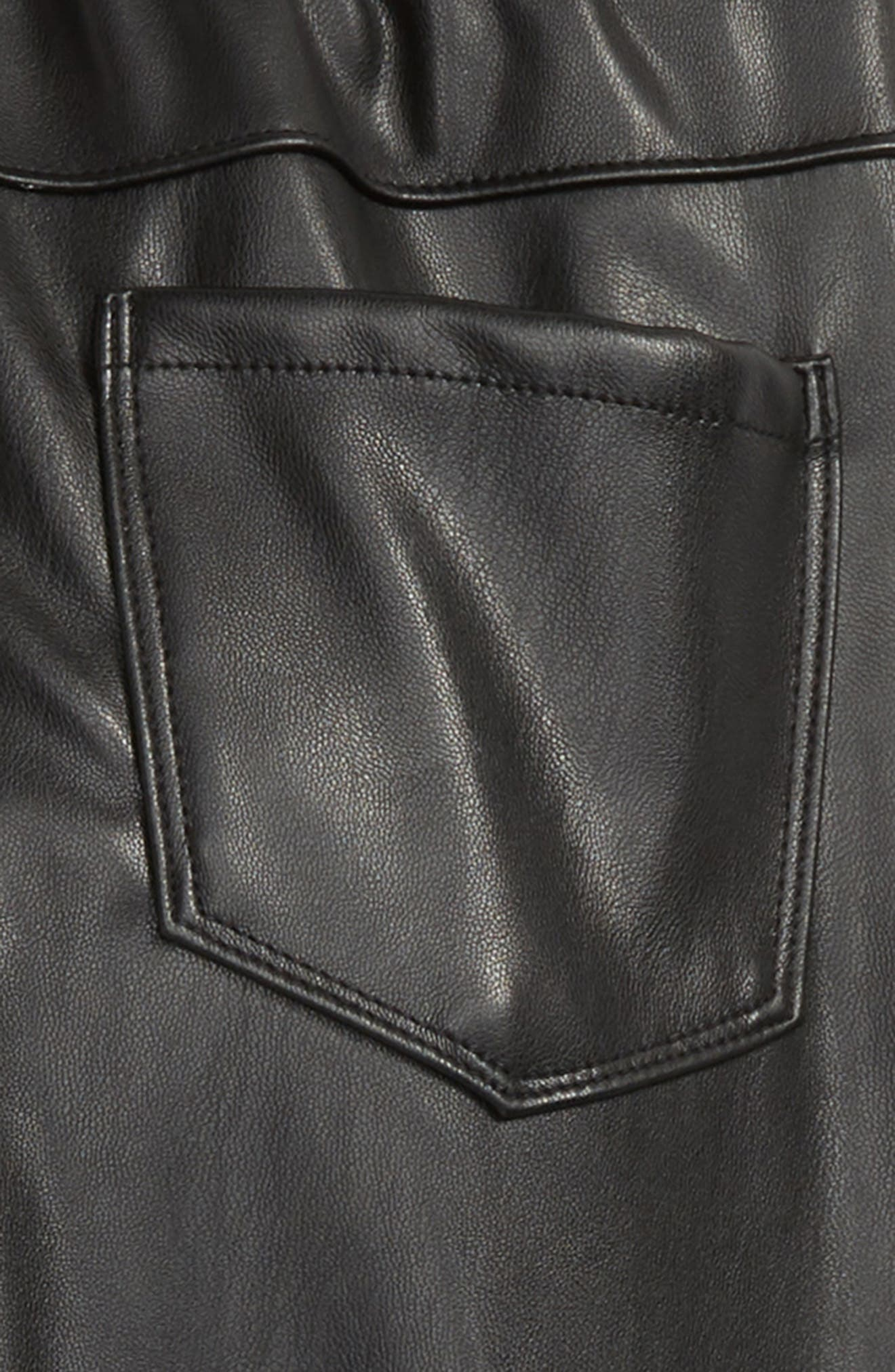 Faux Leather Leggings,                             Alternate thumbnail 3, color,                             BLACK