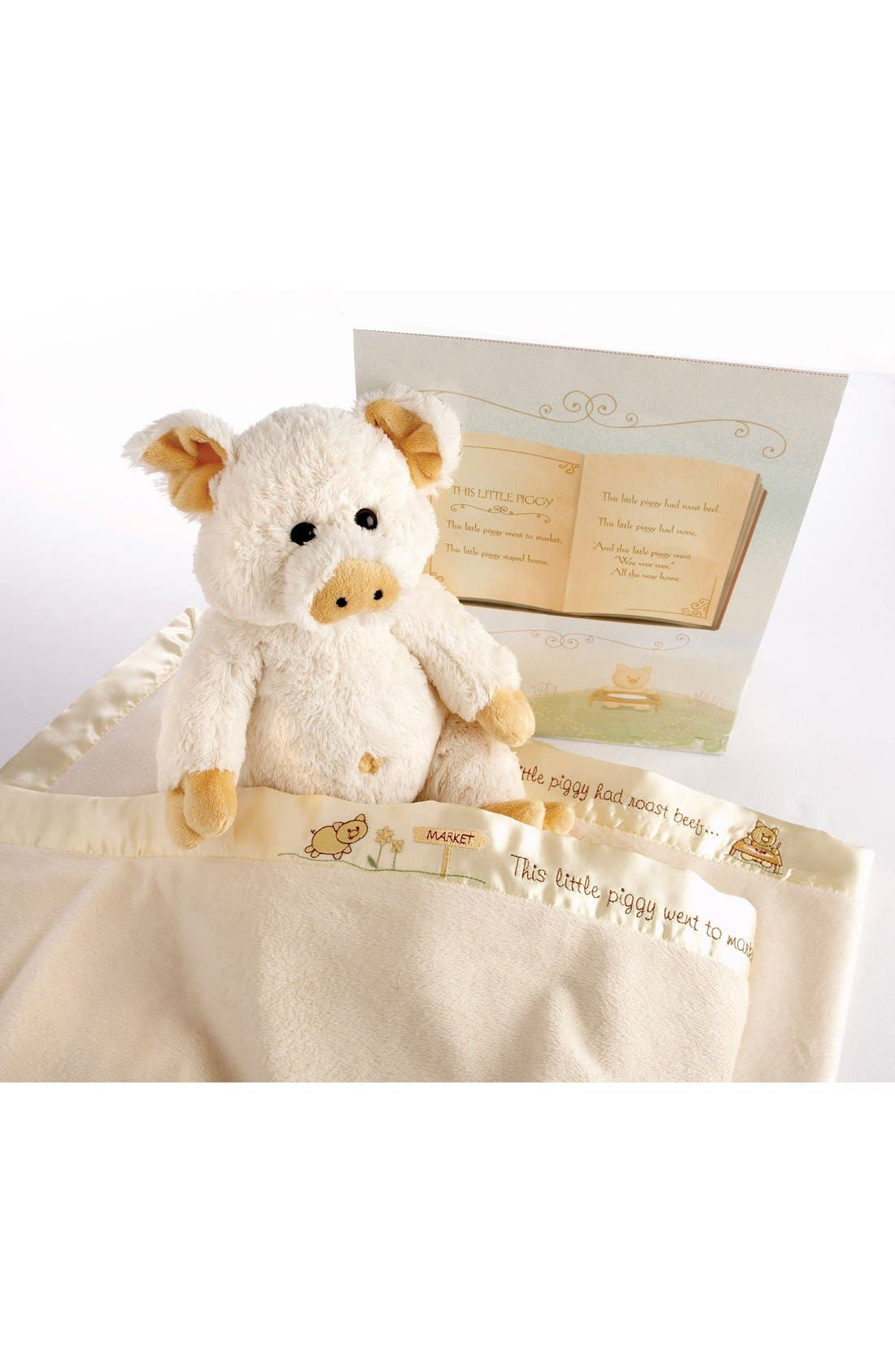 Pig Stuffed Animal & Blanket Set,                             Alternate thumbnail 4, color,                             CREAM