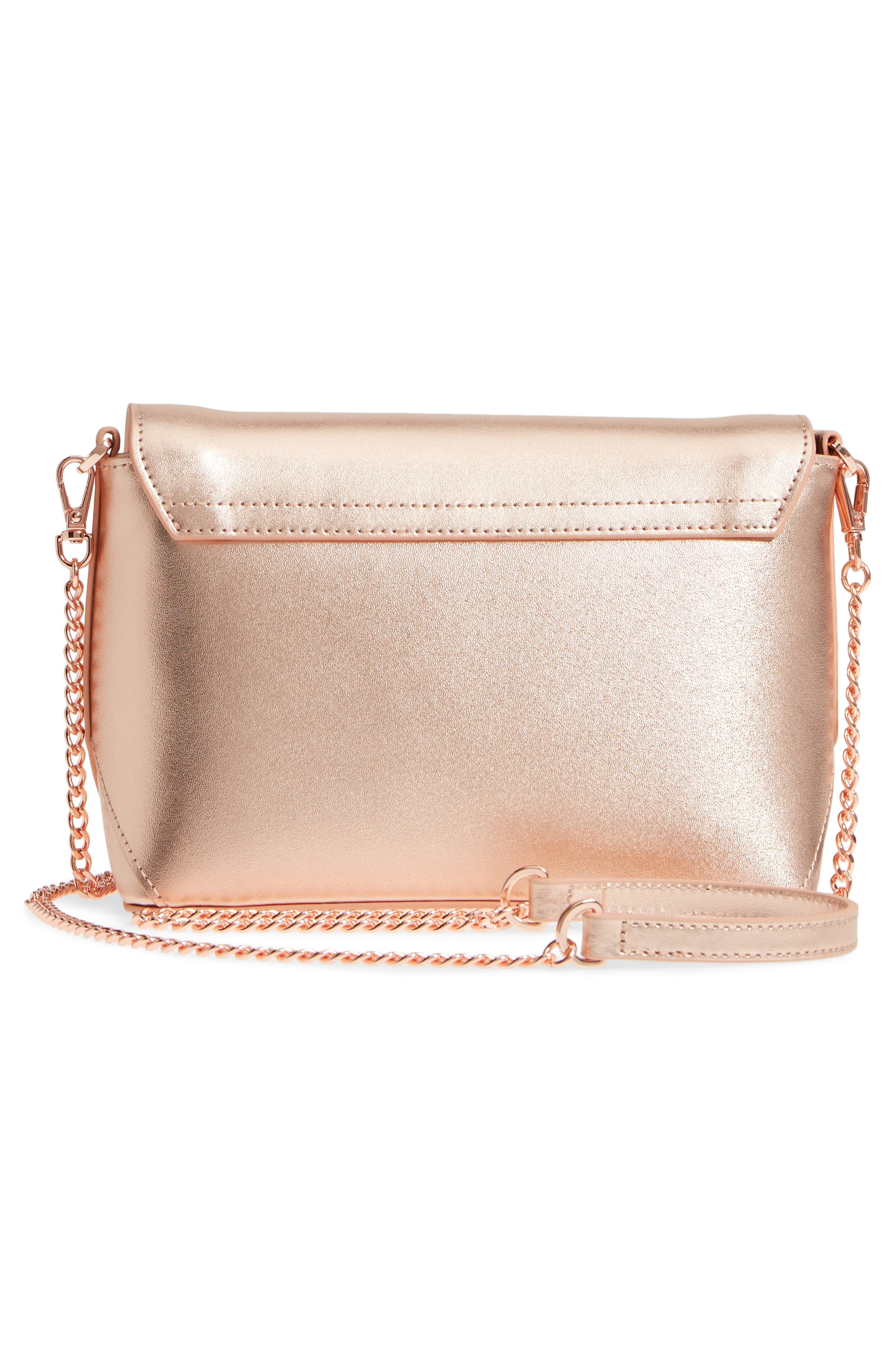 Bow Embossed Leather Crossbody Bag,                             Alternate thumbnail 8, color,