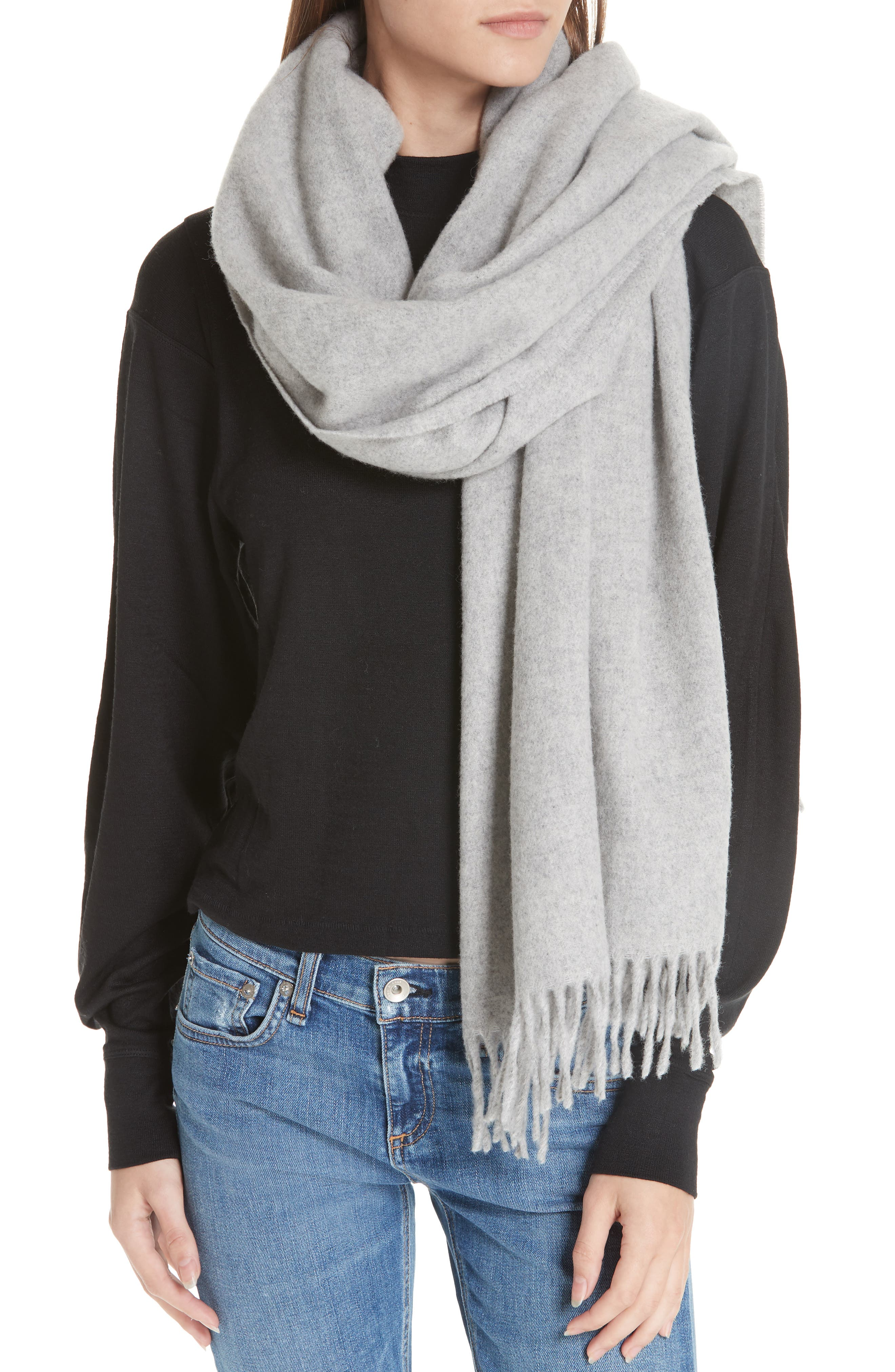 Classic Wool Scarf,                             Alternate thumbnail 2, color,                             LIGHT HEATHER GREY
