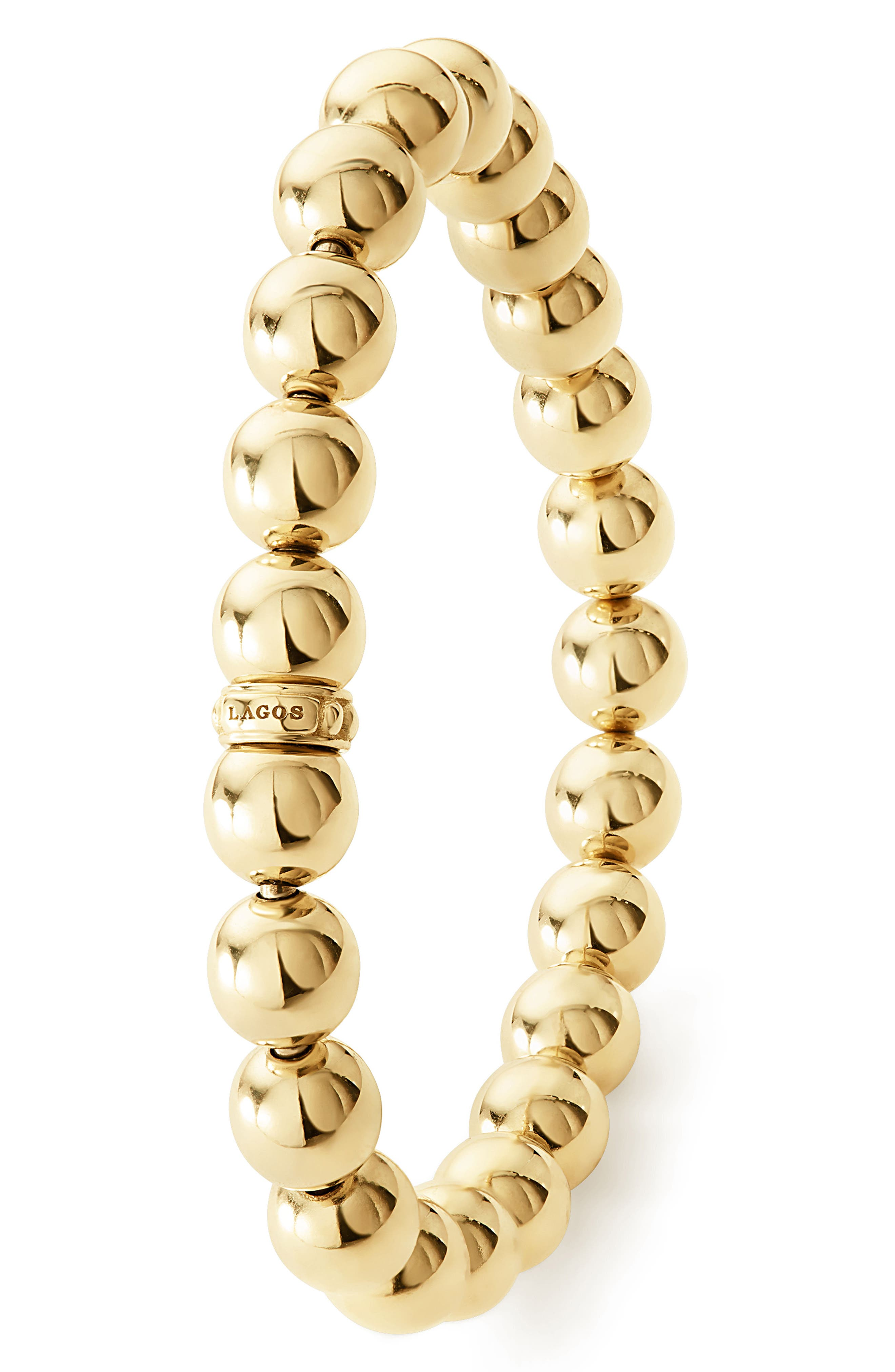 Caviar Gold Ball Stretch Bracelet,                             Alternate thumbnail 3, color,                             GOLD