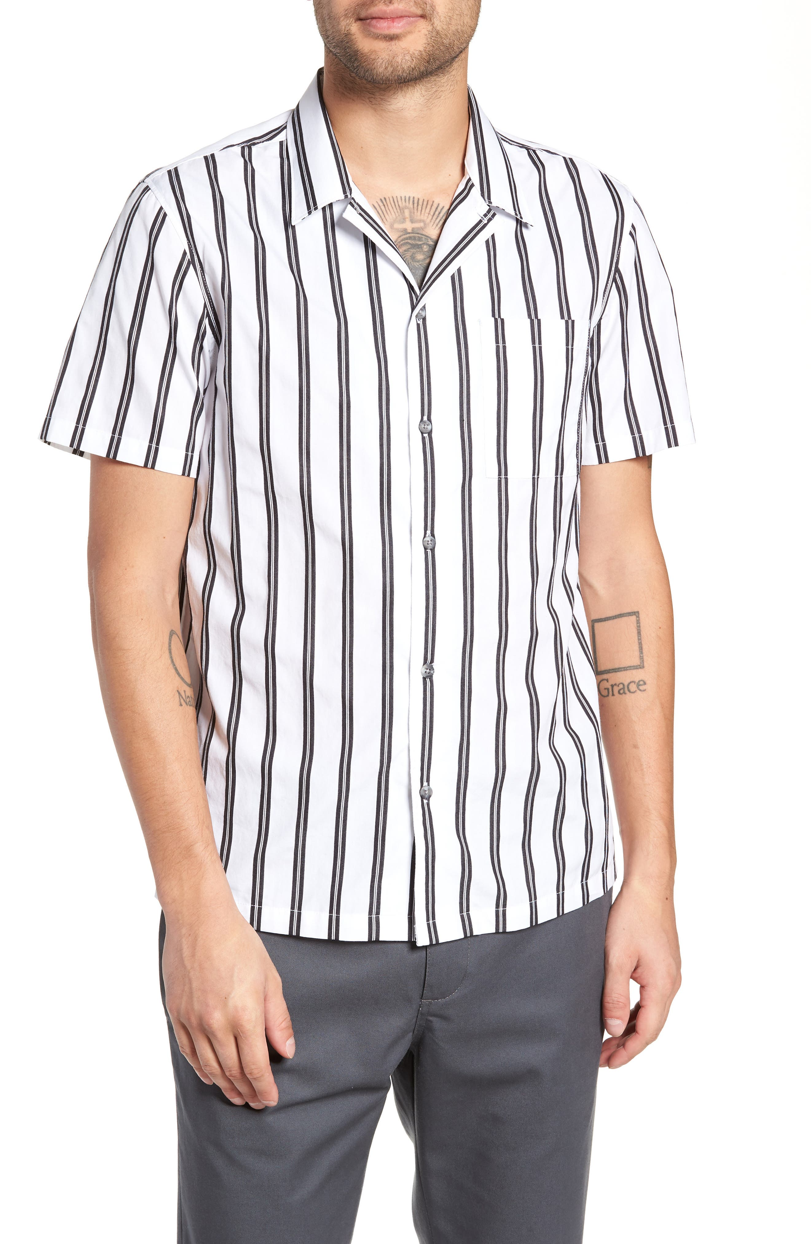 Gable Dobby Stripe Camp Shirt,                             Main thumbnail 1, color,                             BLACK STRIPE