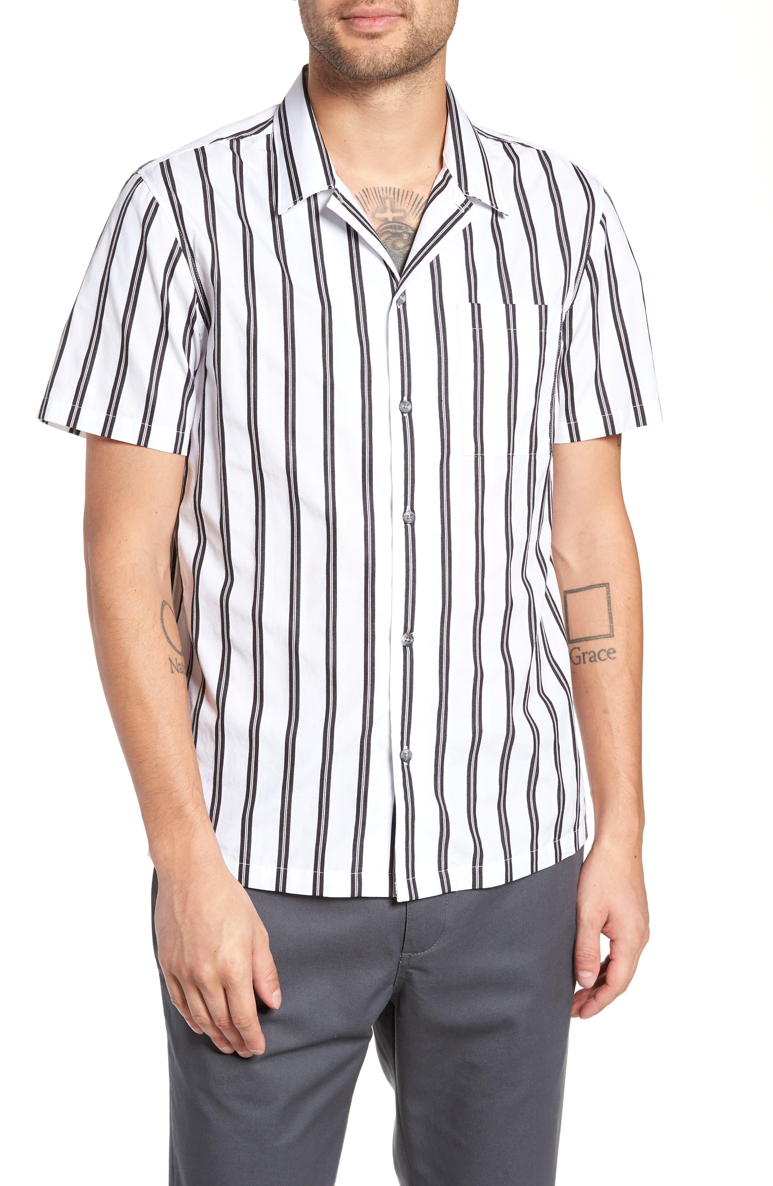 Gable Dobby Stripe Camp Shirt,                         Main,                         color, BLACK STRIPE