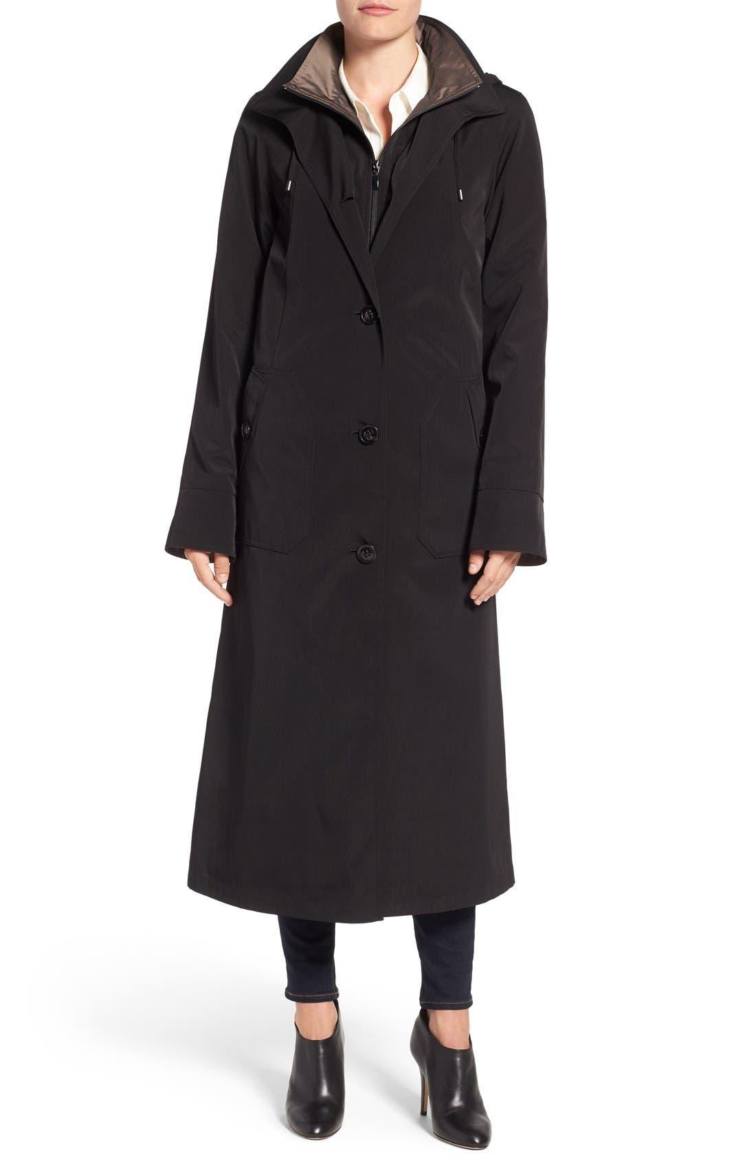 Full Length Two-Tone Silk Look Raincoat,                             Main thumbnail 1, color,                             BLACK