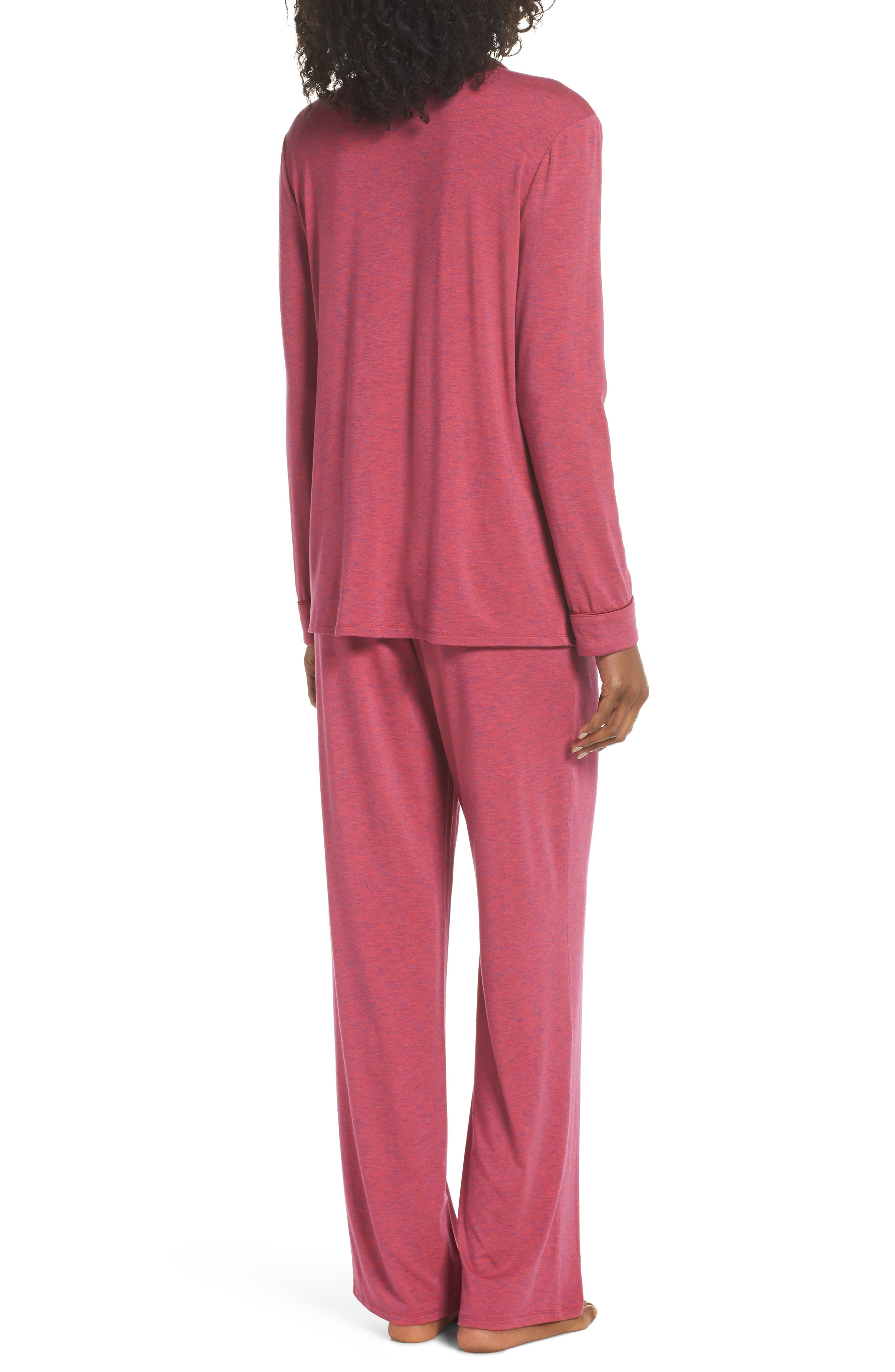 NORDSTROM LINGERIE,                             Moonlight Pajamas,                             Alternate thumbnail 2, color,                             BURGUNDY SPACEDYE