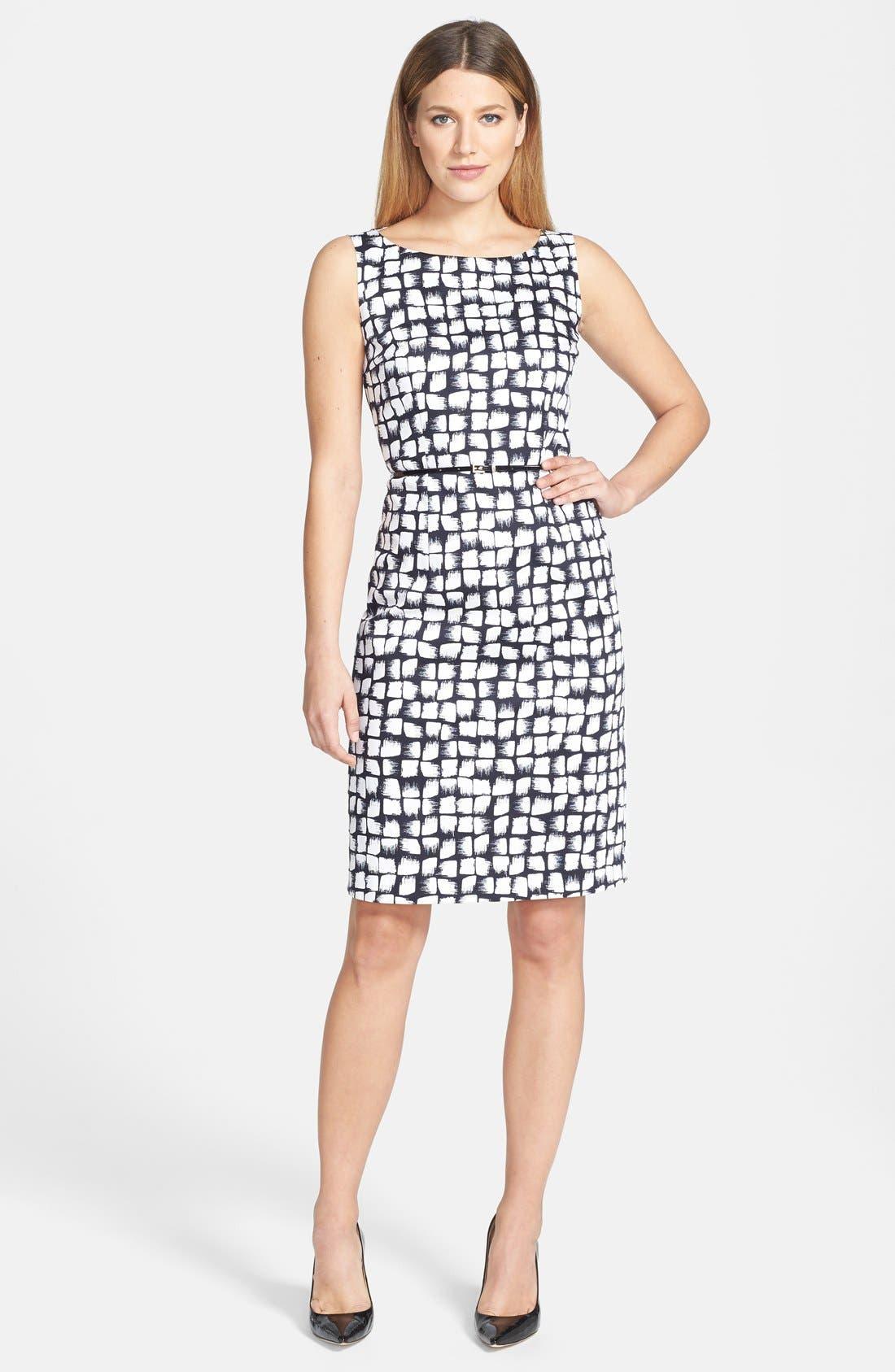 BOSS 'Dinoma' Belted Sheath Dress, Main, color, 477