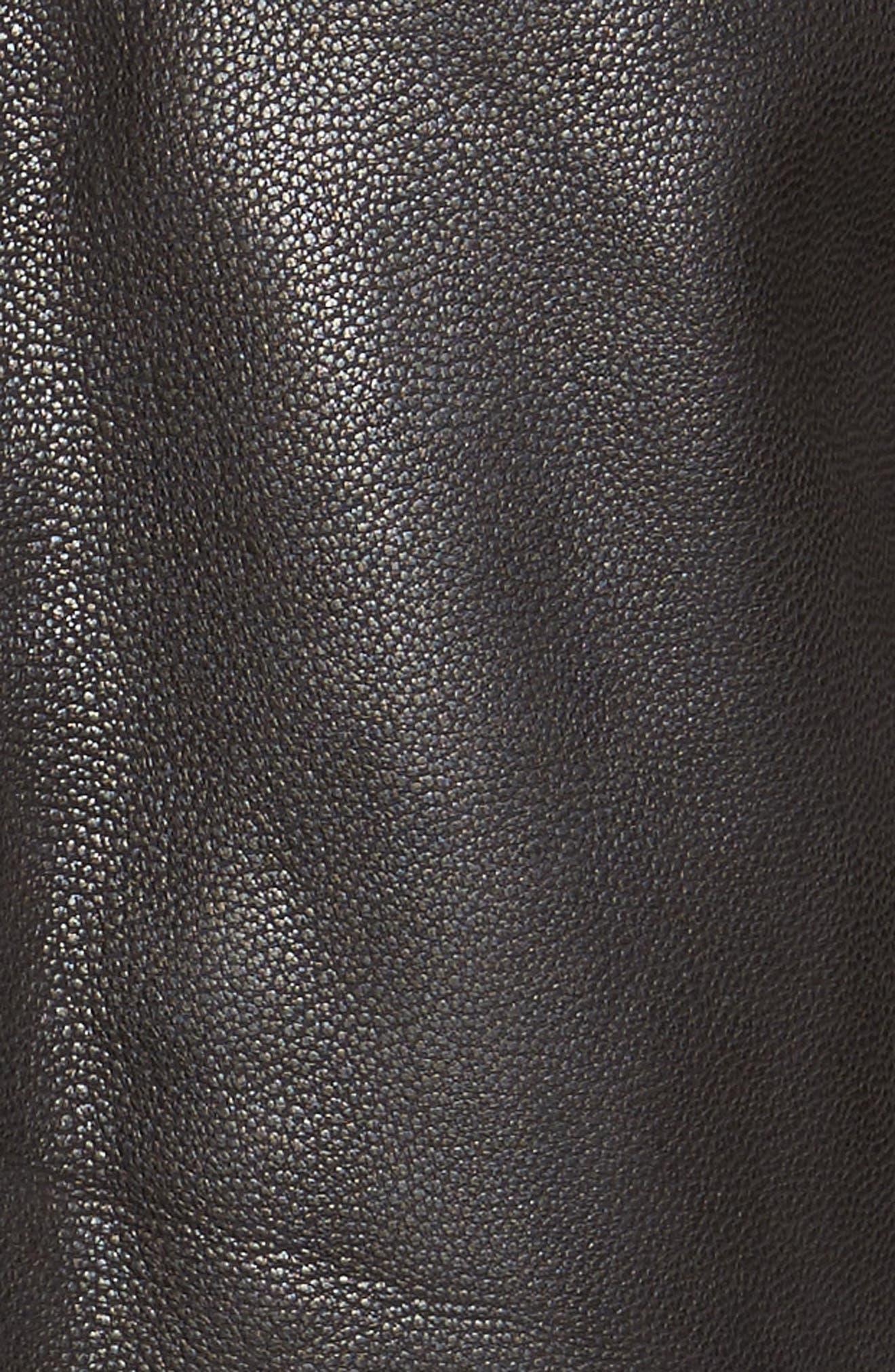 Washed Leather Trucker Jacket,                             Alternate thumbnail 6, color,                             BLACK
