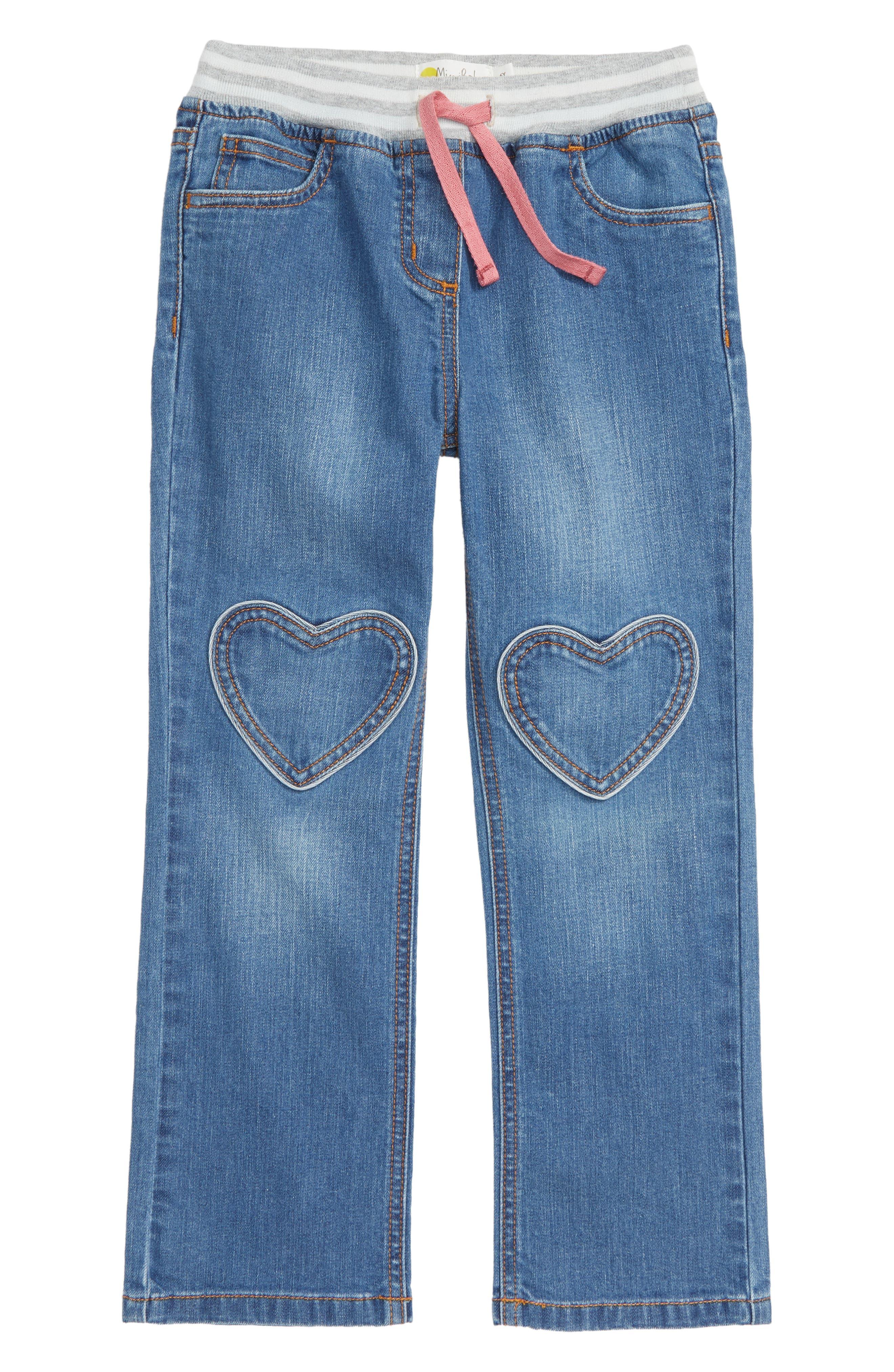 Heart Patch Jeans,                         Main,                         color, MID VINTAGE