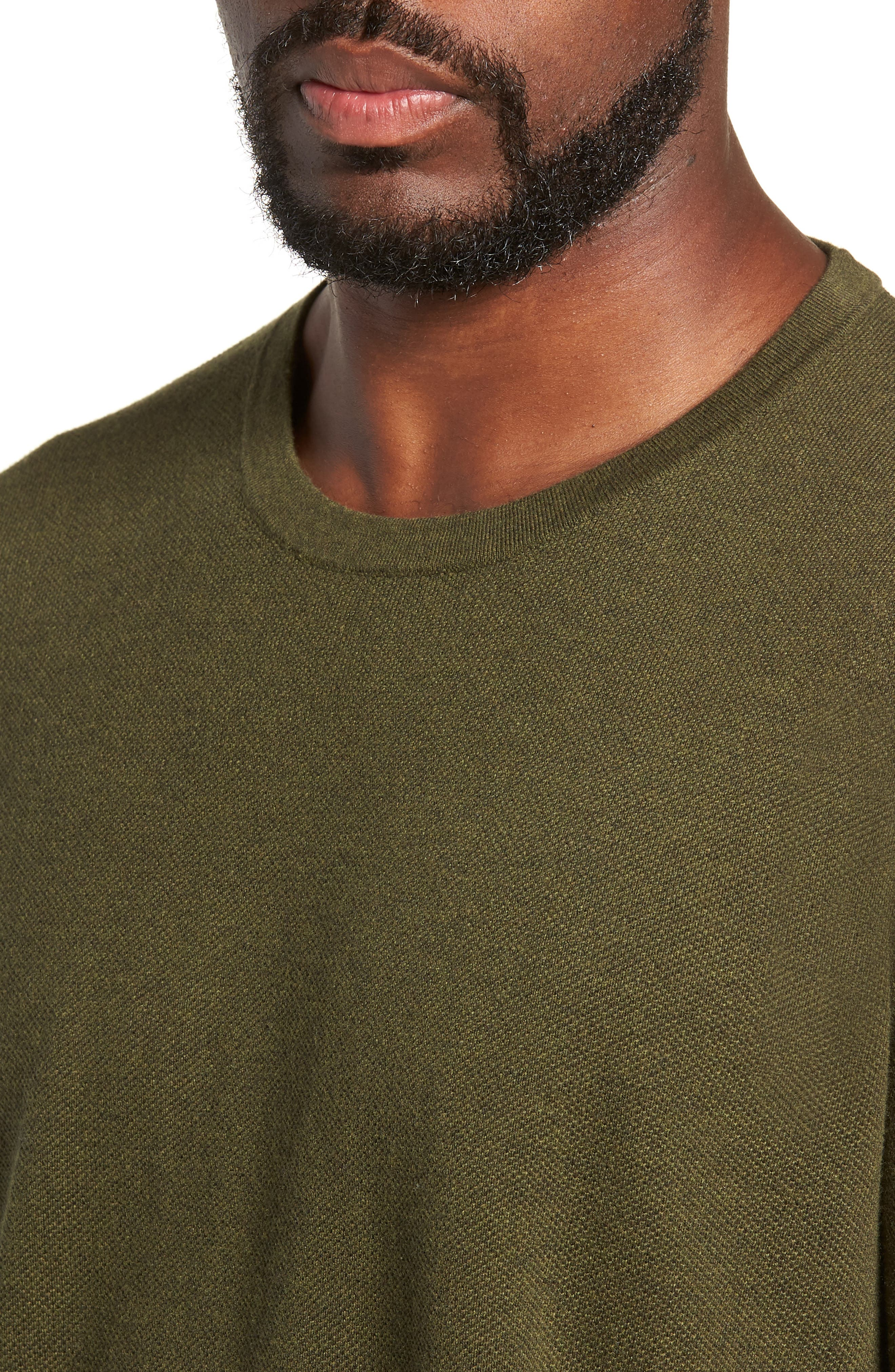 Cotton & Cashmere Piqué Crewneck Sweater,                             Alternate thumbnail 4, color,                             HEATHER OLIVE