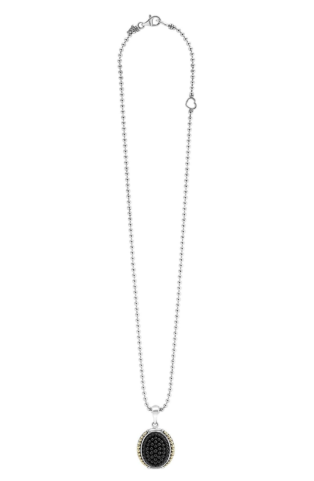 'Black Caviar' Oval Pendant Necklace,                             Alternate thumbnail 3, color,                             001