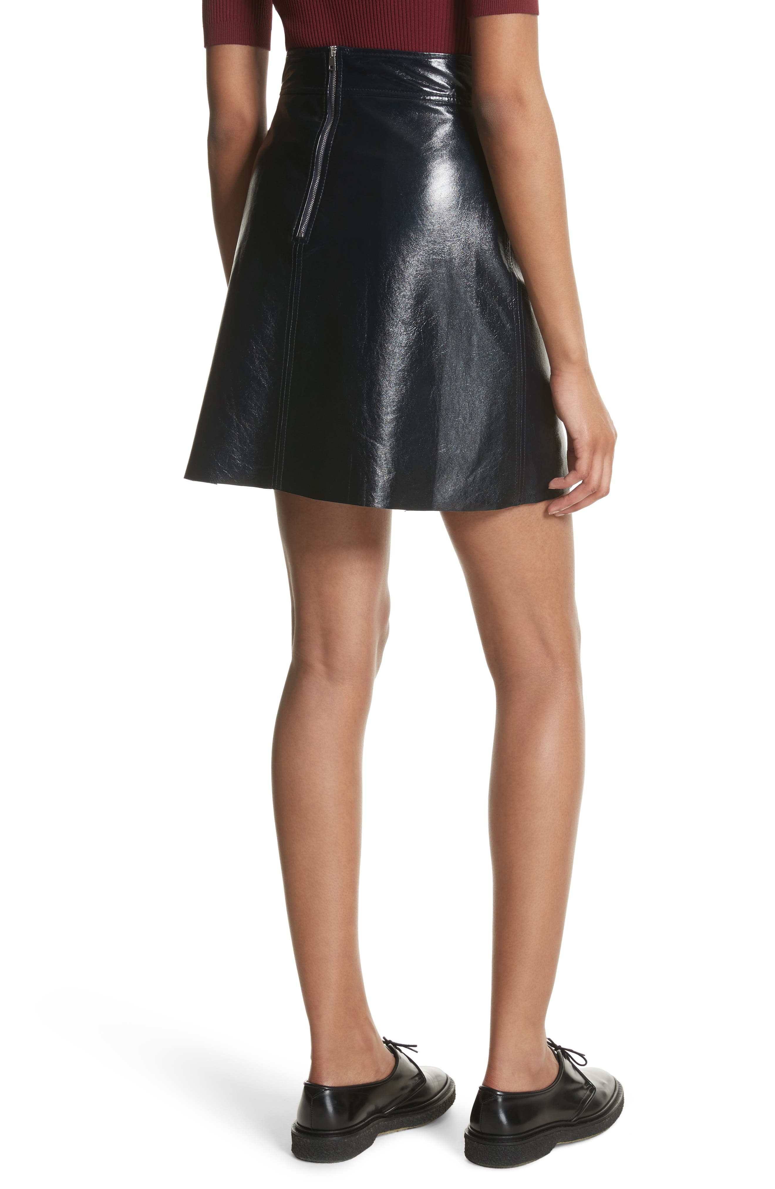 Crinkled Patent Leather Miniskirt,                             Alternate thumbnail 2, color,