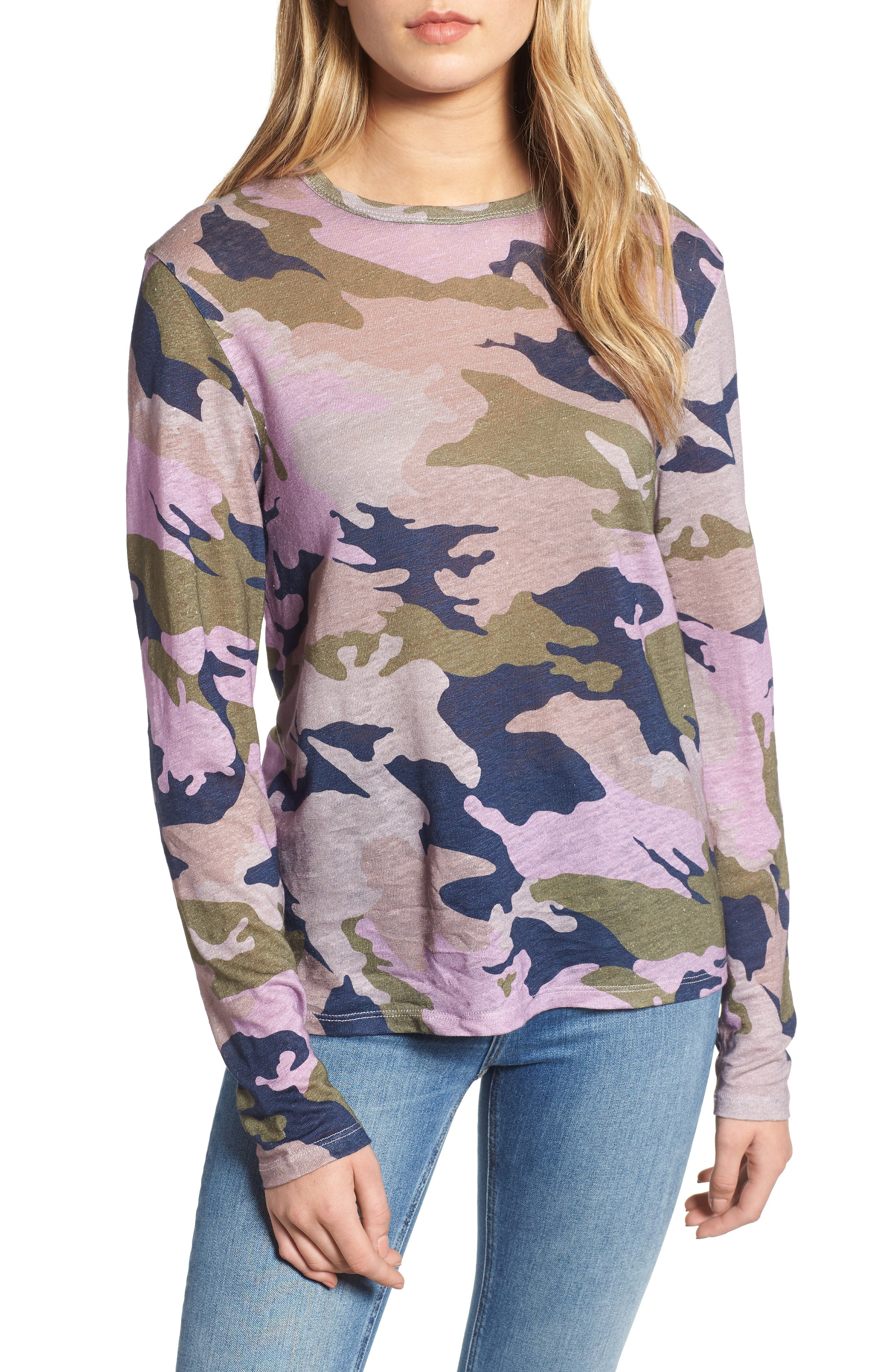 ZADIG & VOLTAIRE,                             Willy Camo Linen Top,                             Main thumbnail 1, color,                             300