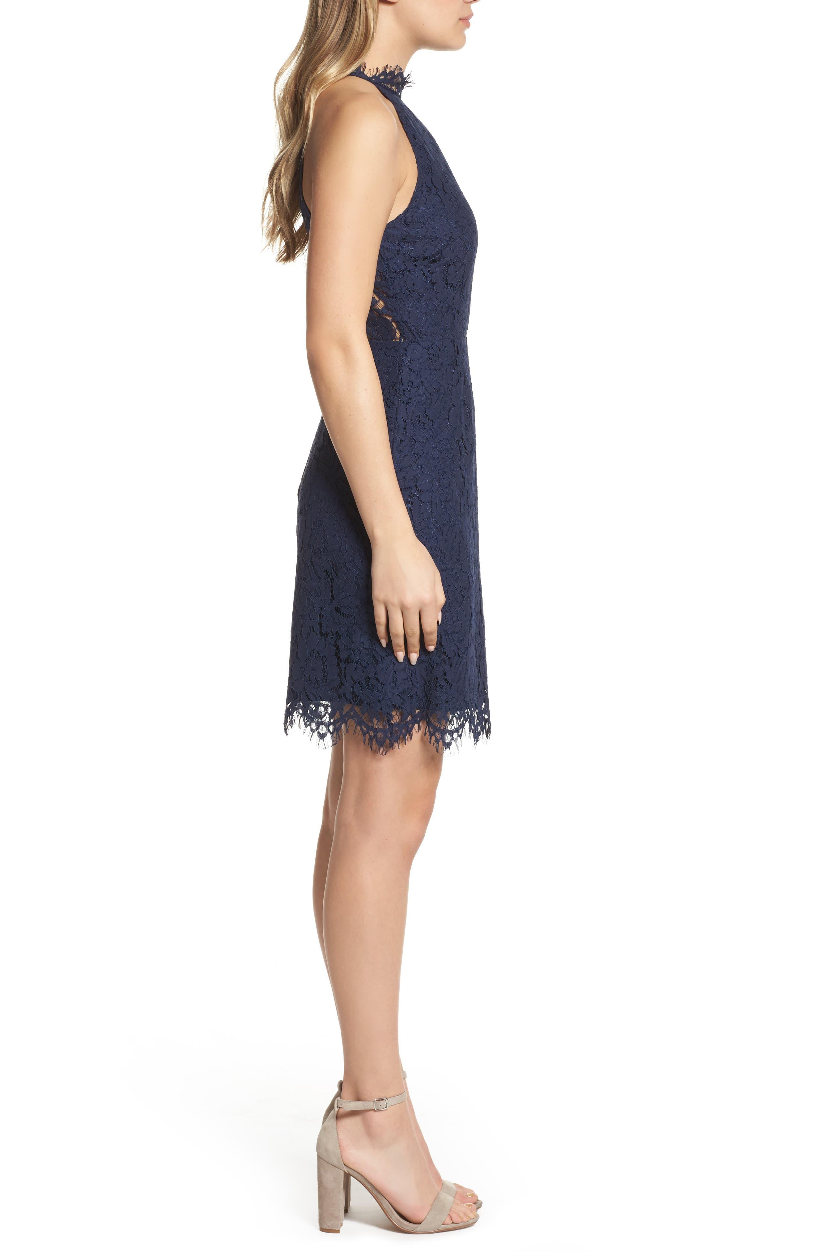 'Cara' High Neck Lace Dress,                             Alternate thumbnail 3, color,                             NAVY