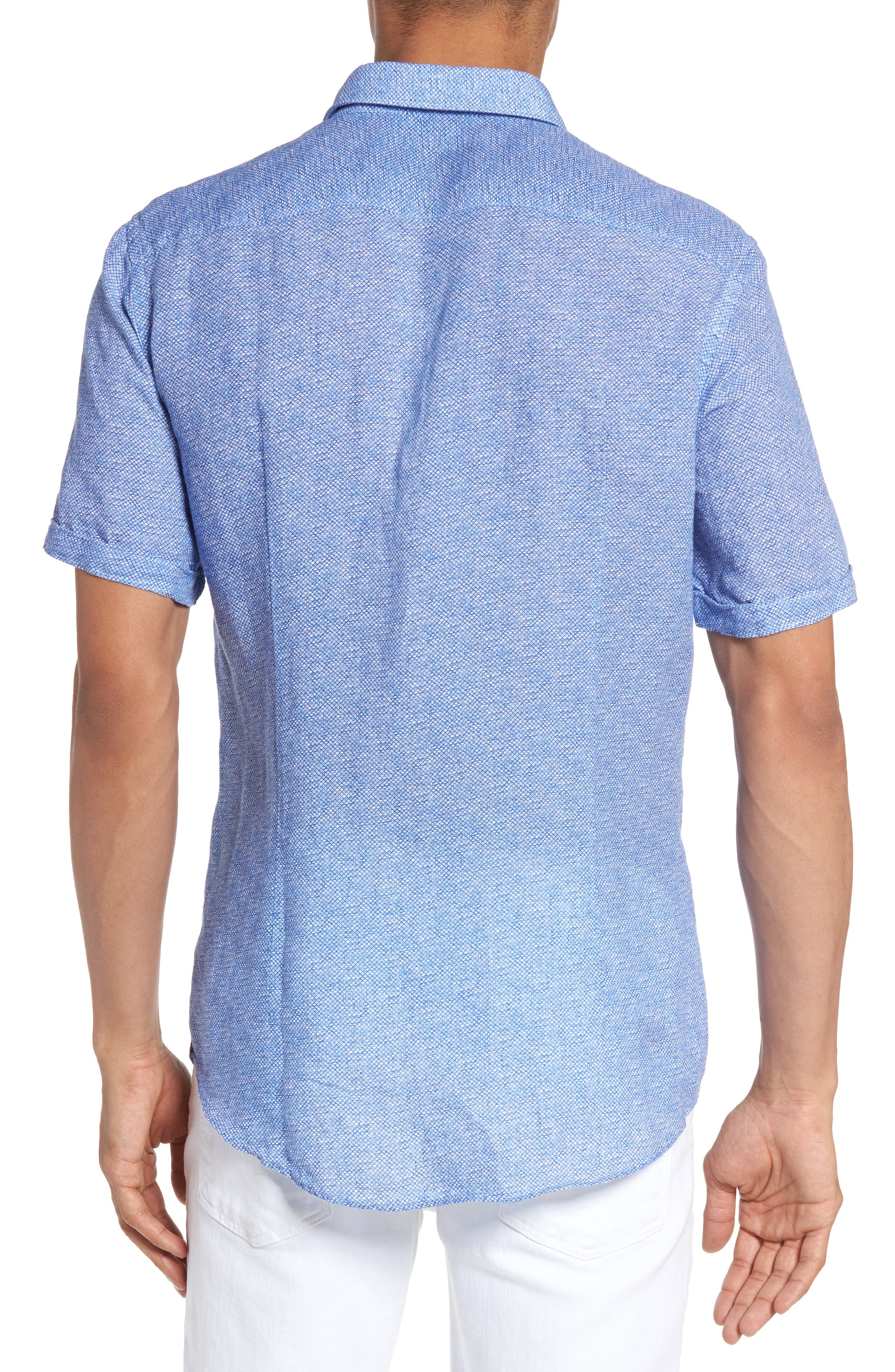 Ronn Extra Slim Fit Print Linen Sport Shirt,                             Alternate thumbnail 2, color,                             421