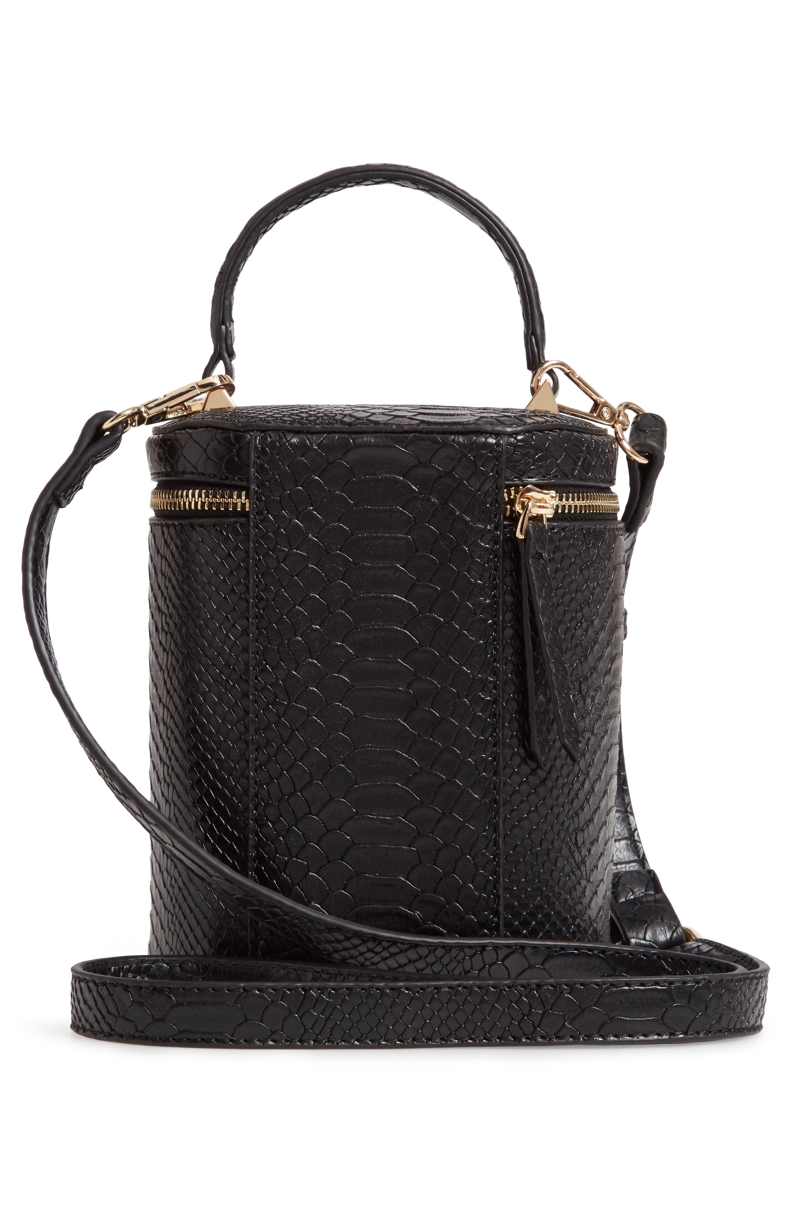 Marion Snake Embossed Bucket Bag,                             Alternate thumbnail 3, color,                             001