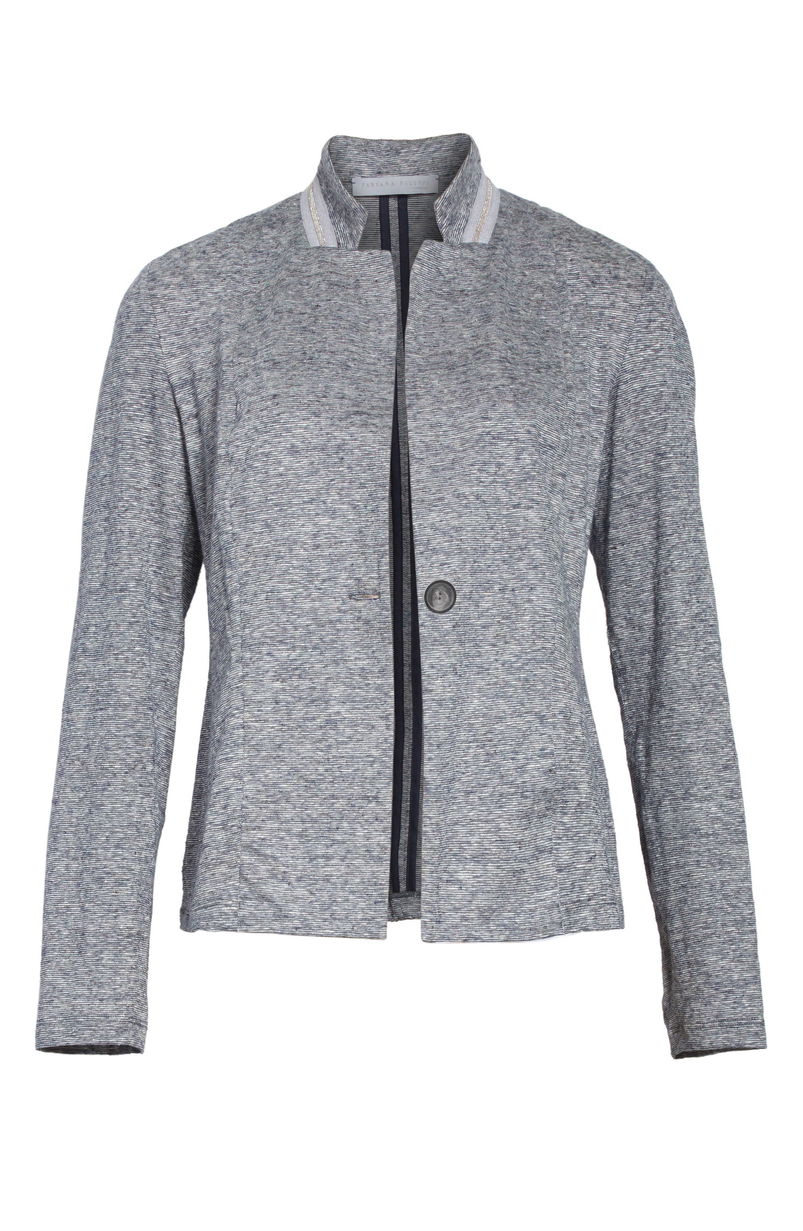 Grosgrain Stripe Jersey Jacket,                             Alternate thumbnail 5, color,                             400