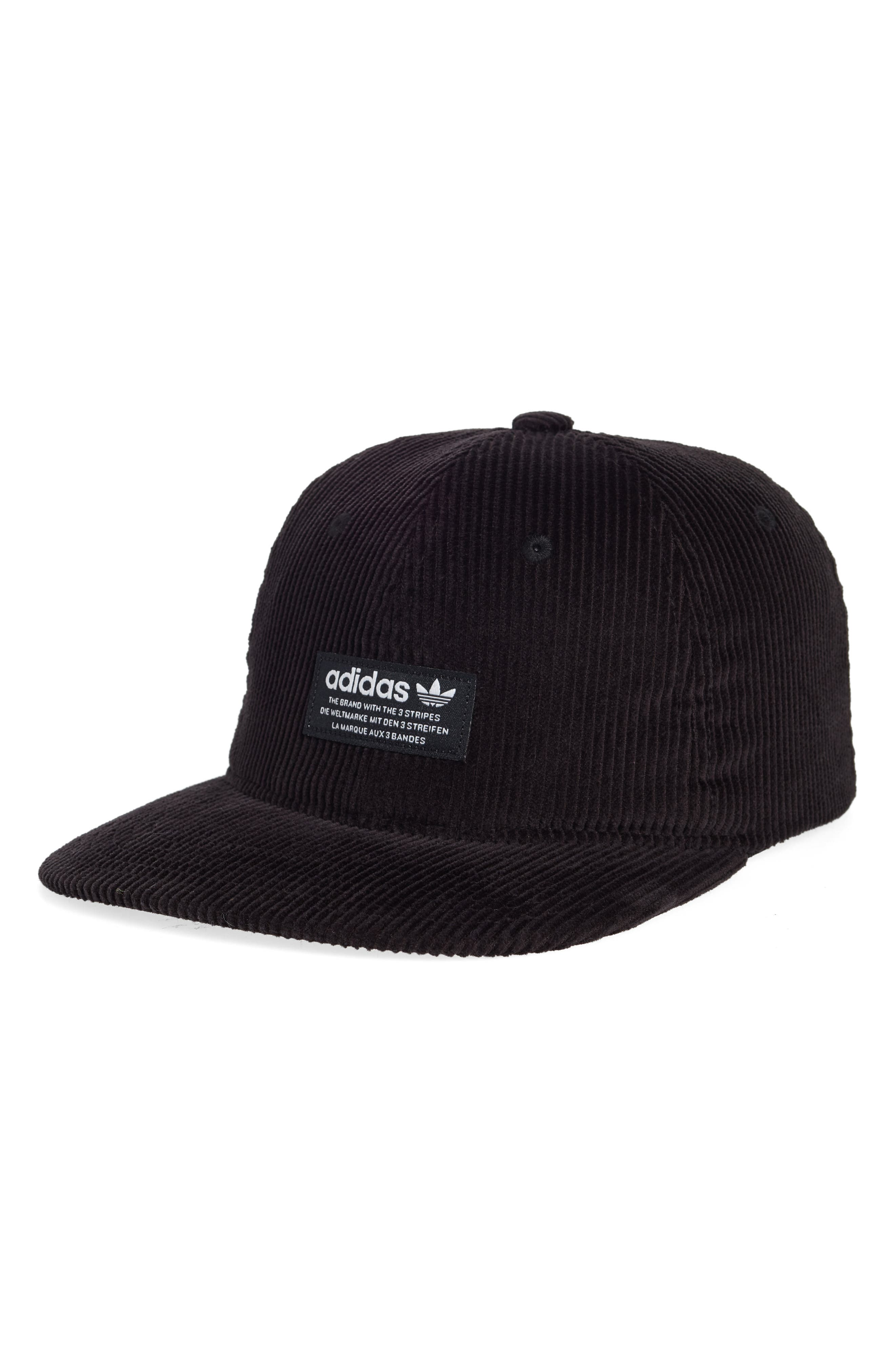 Relaxed Corduroy Cap,                         Main,                         color, BLACK/ WHITE