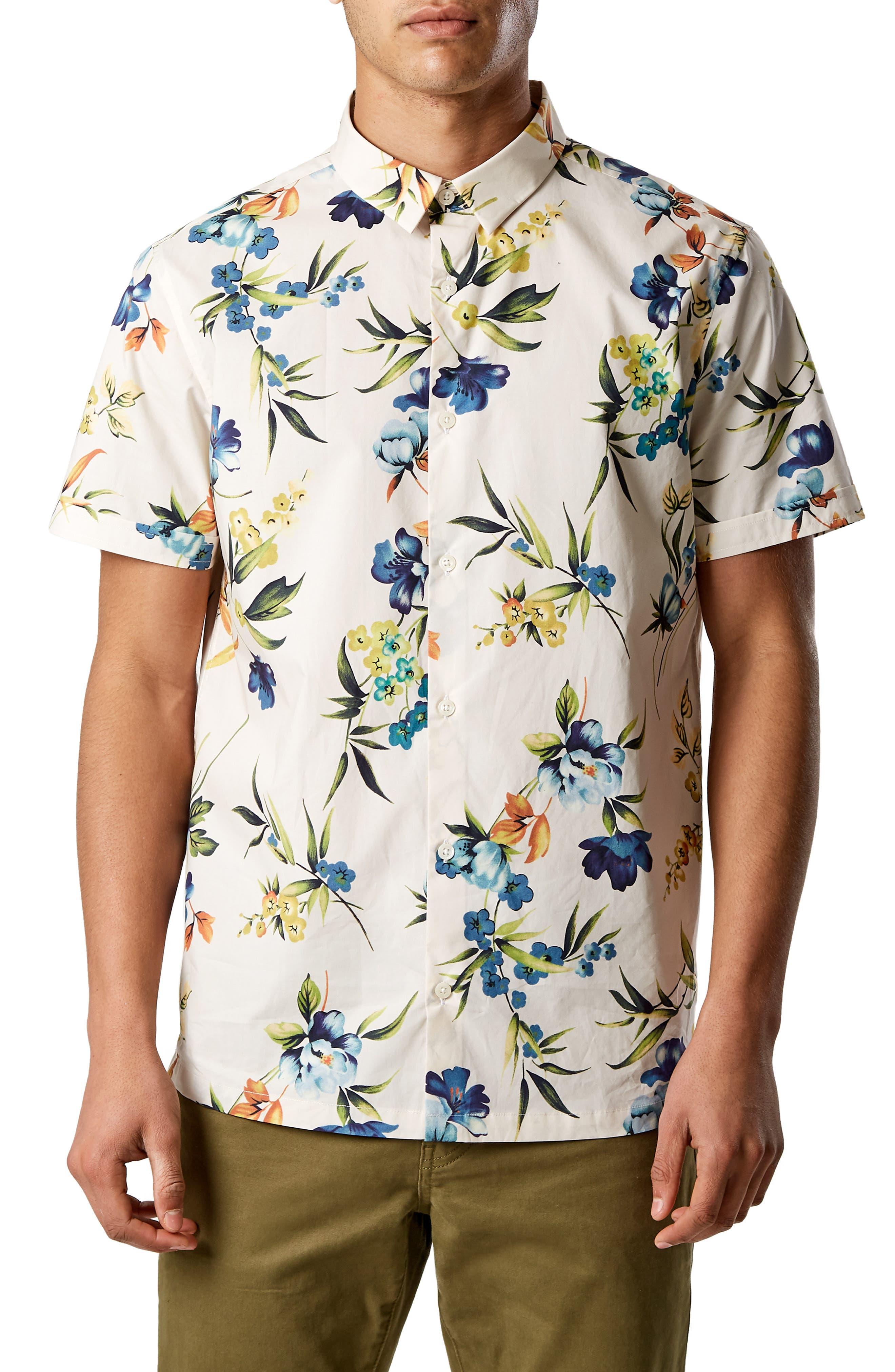 Sky Pilot Trim Fit Short Sleeve Sport Shirt,                         Main,                         color, NATURAL
