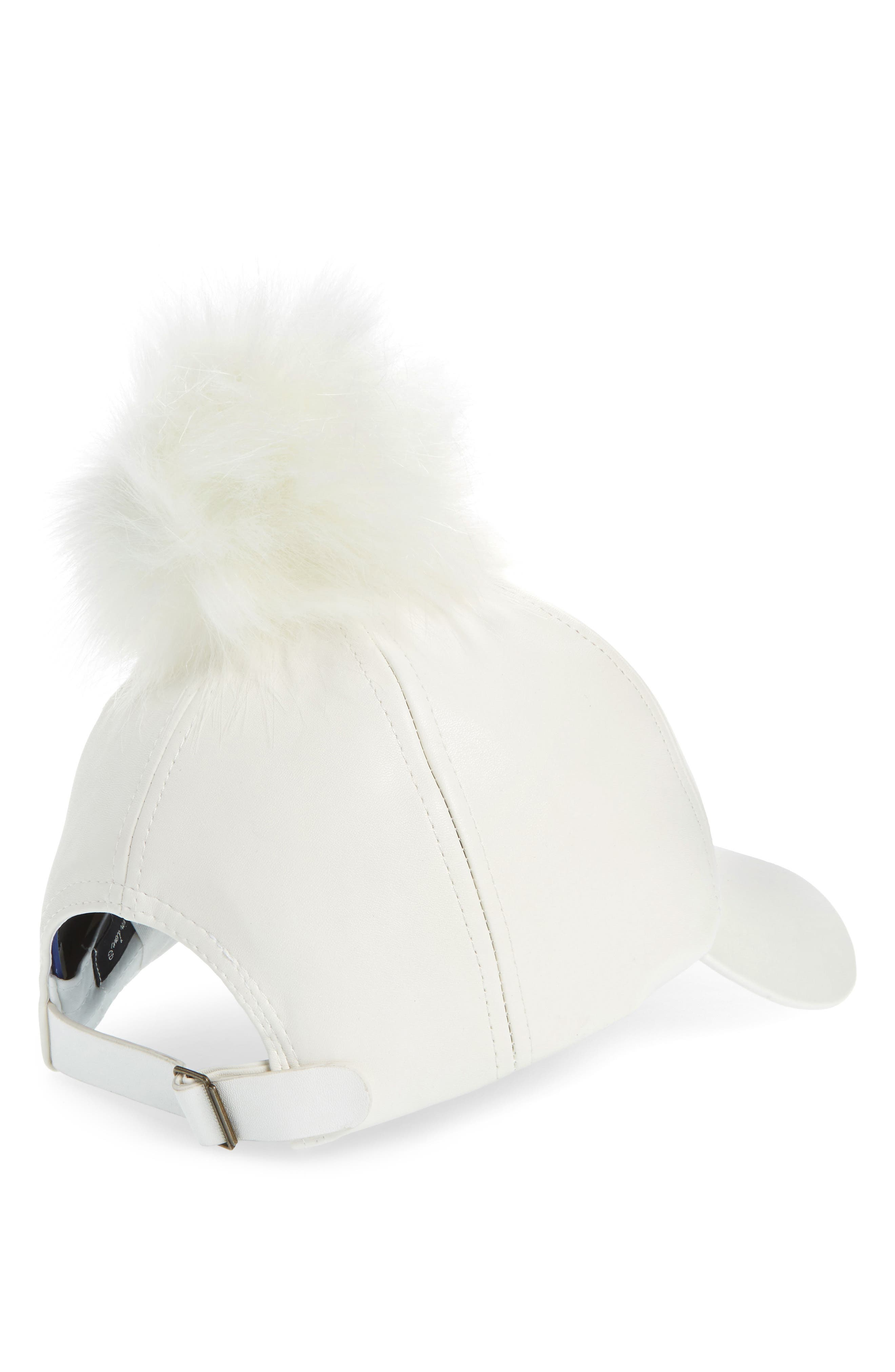 Faux Leather Cap with Faux Fur Pompom,                             Alternate thumbnail 4, color,