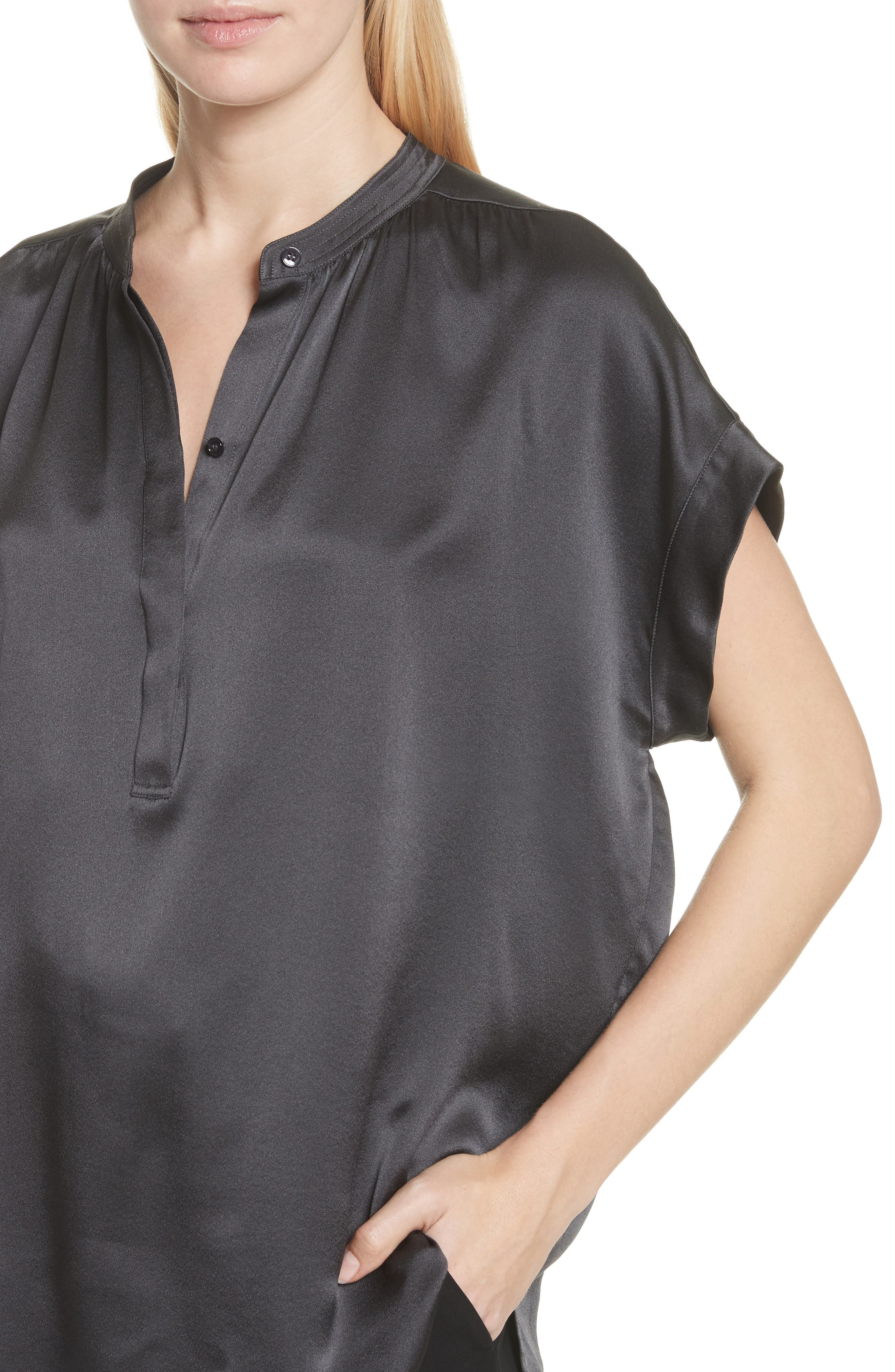 Shirred Neck Silk Top,                             Alternate thumbnail 13, color,