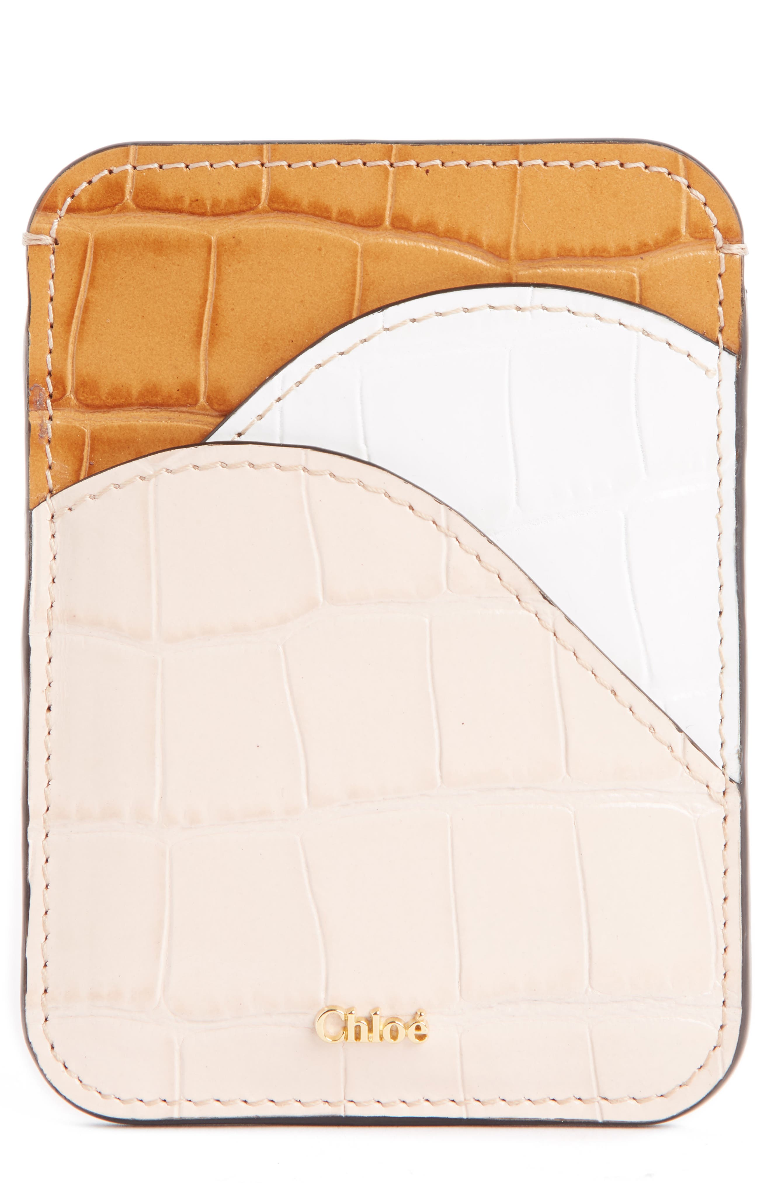 Walden Crocodile Embossed Leather Card Holder,                             Main thumbnail 1, color,                             BEIGE MULTI