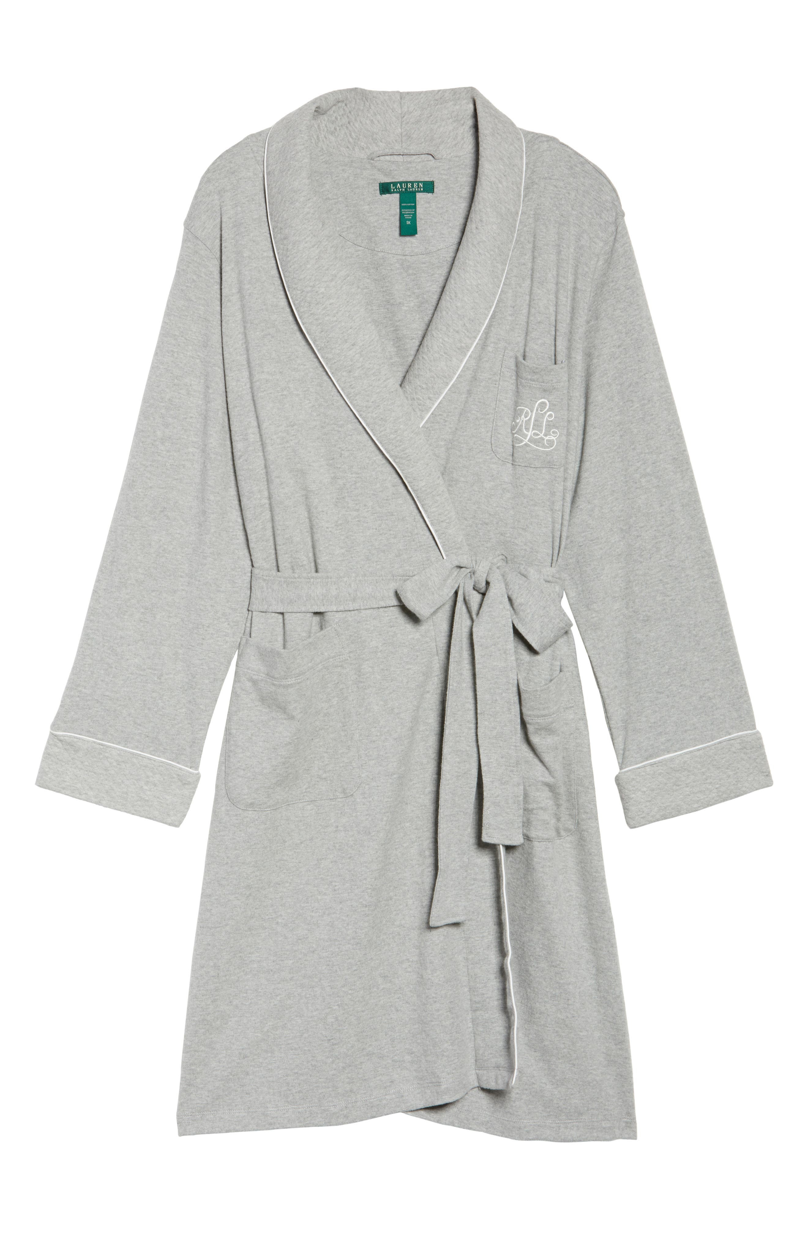 Shawl Collar Robe,                             Alternate thumbnail 7, color,                             HEATHER GREY