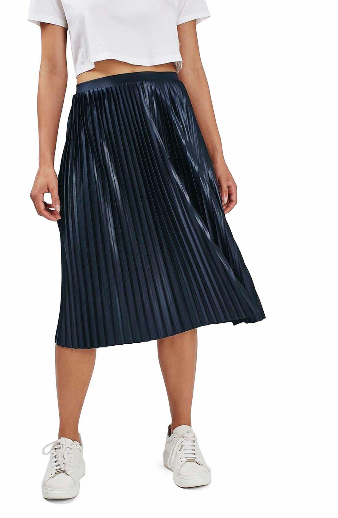TOPSHOP Pleat Jersey Midi Skirt, Main, color, 410