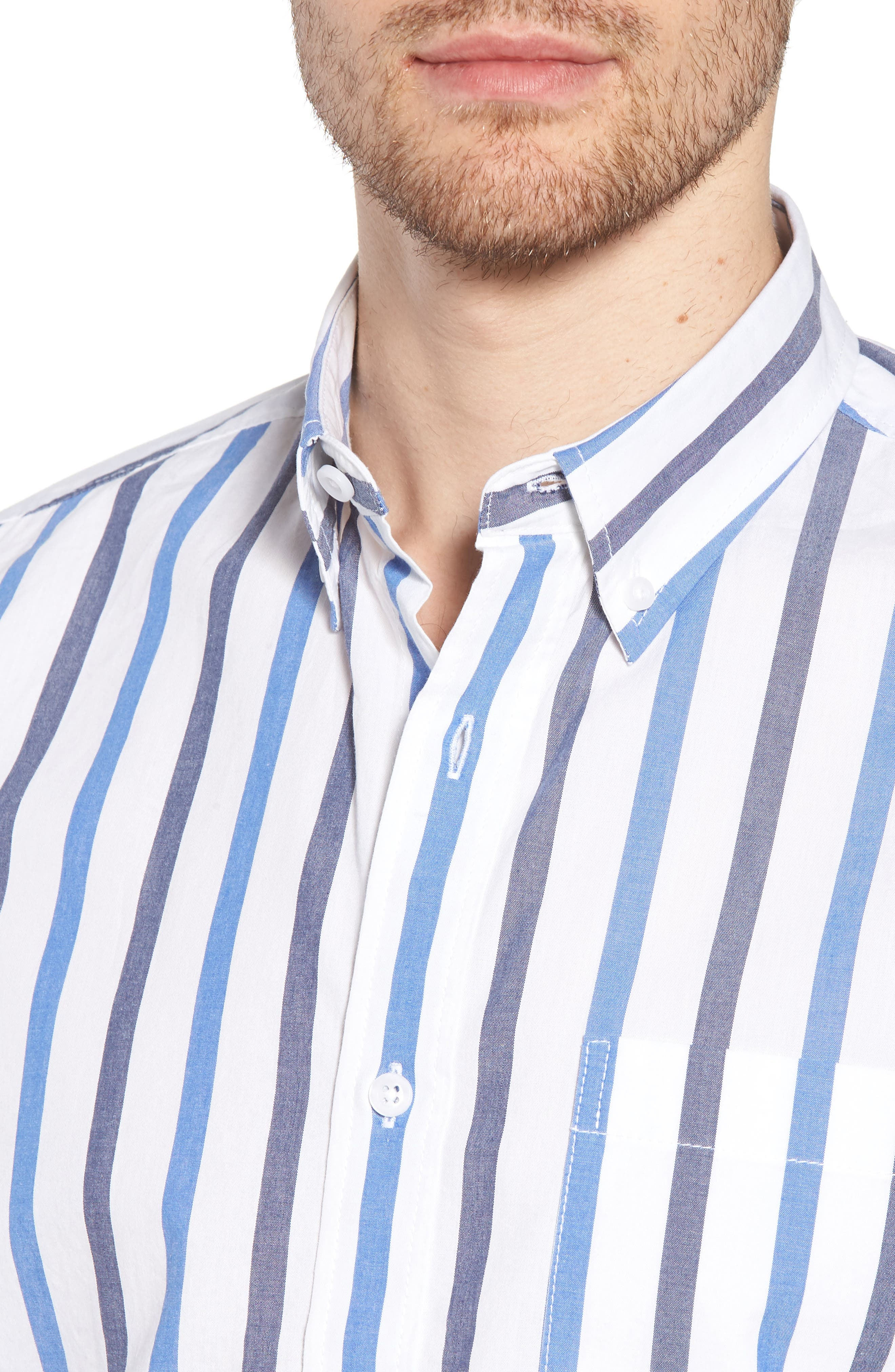 Trim Fit Stripe Stretch Sport Shirt,                             Alternate thumbnail 4, color,                             100