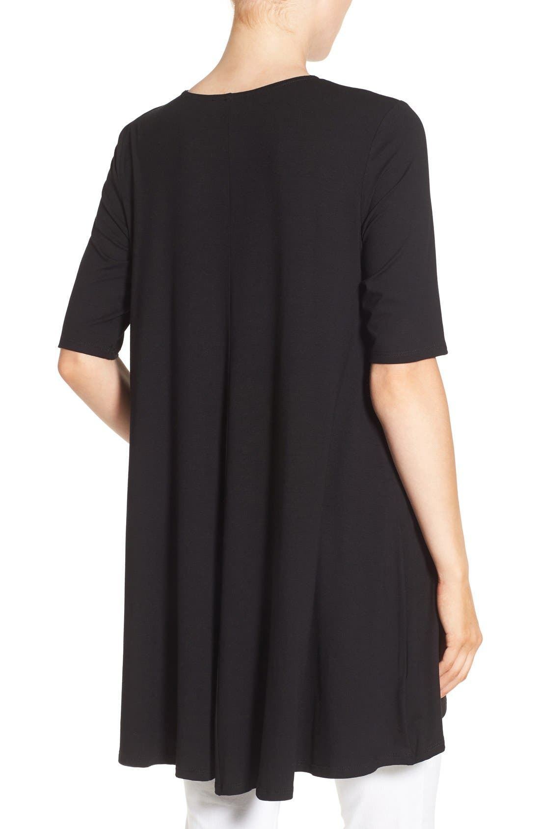 Lightweight Jersey Round Neck Tunic,                             Alternate thumbnail 4, color,                             001