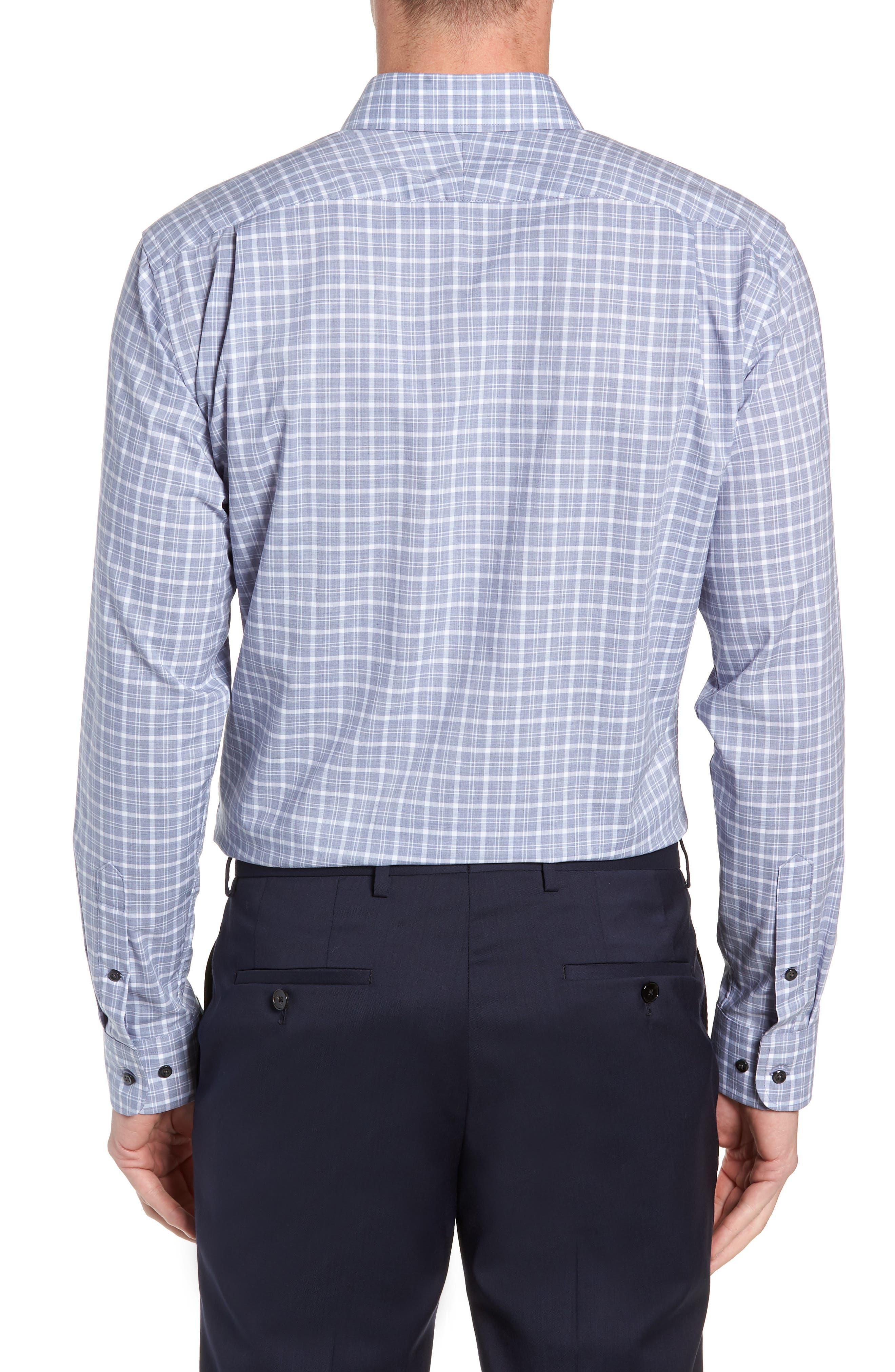 Trim Fit Non-Iron Plaid Dress Shirt,                             Alternate thumbnail 3, color,                             420