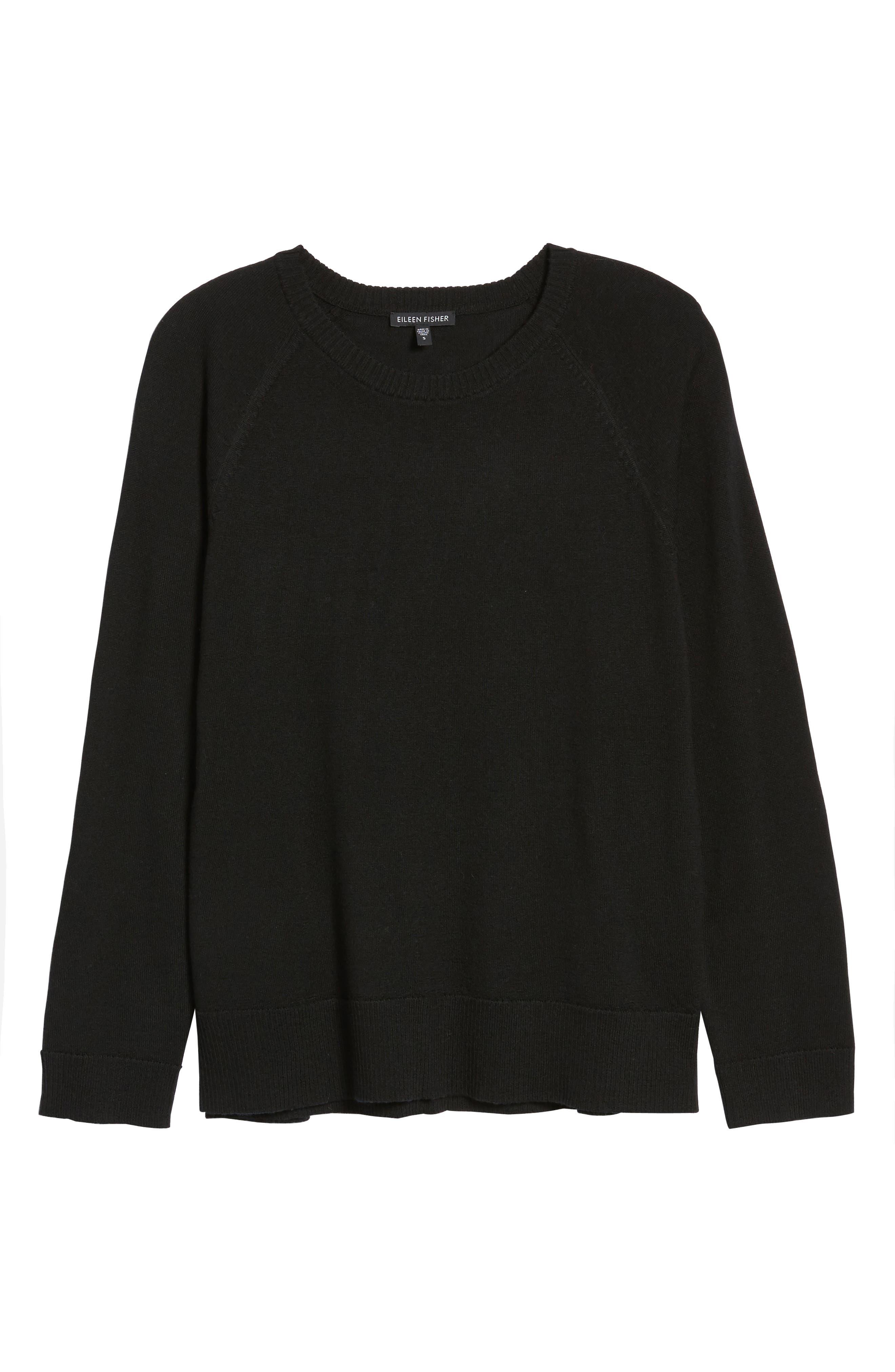 Side Slit Merino Wool Sweater,                             Alternate thumbnail 6, color,                             001