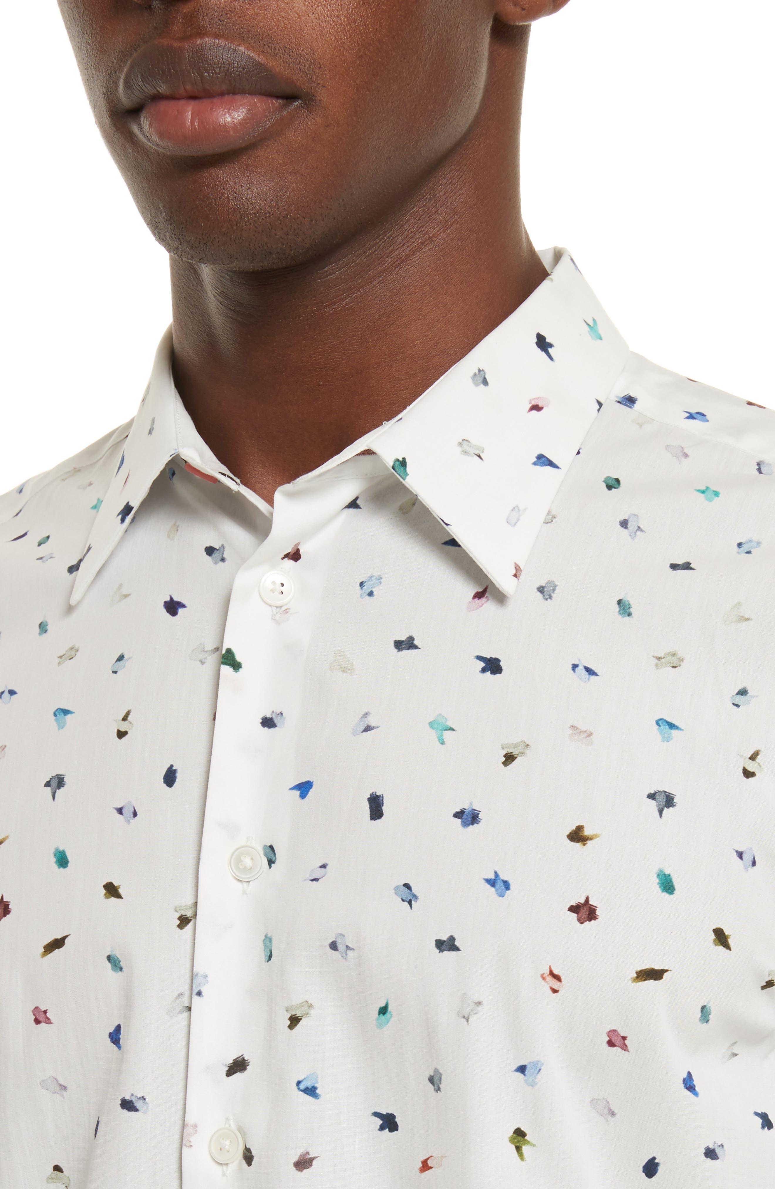 Mini Bird Print Woven Shirt,                             Alternate thumbnail 4, color,                             100